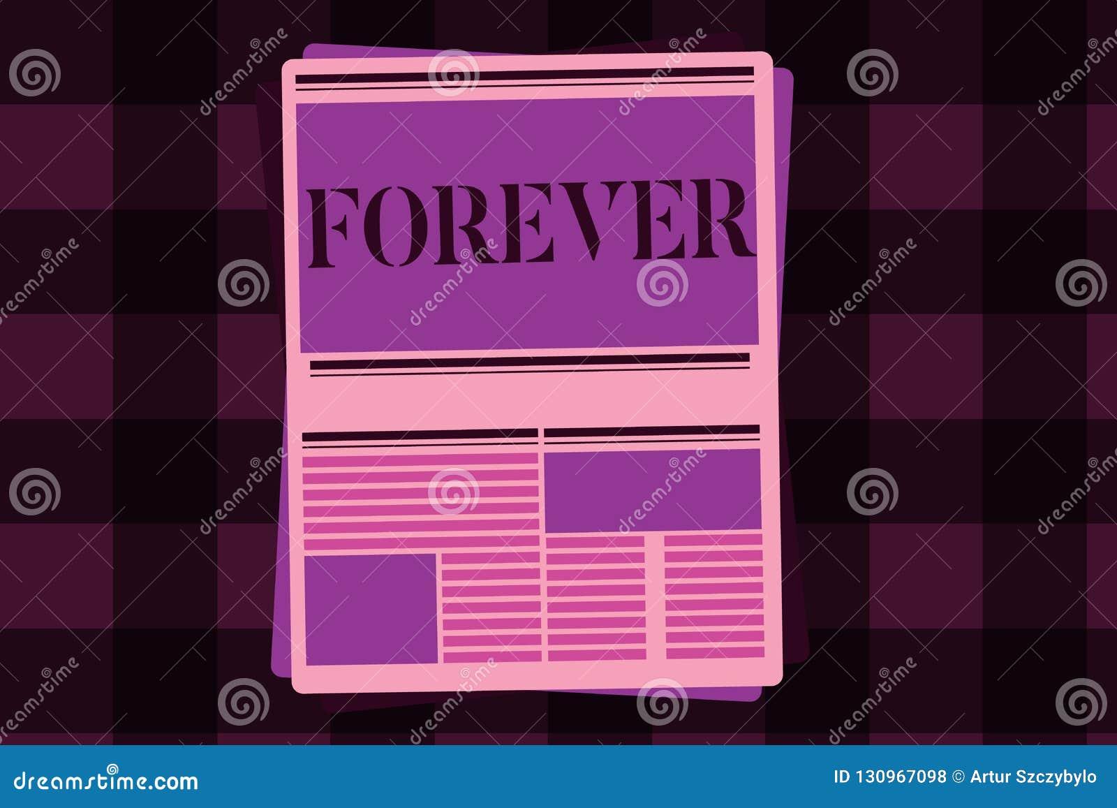 Nota de la escritura que muestra para siempre Foto del negocio que muestra Peranalysisent eterno siempre por el tiempo futuro sin