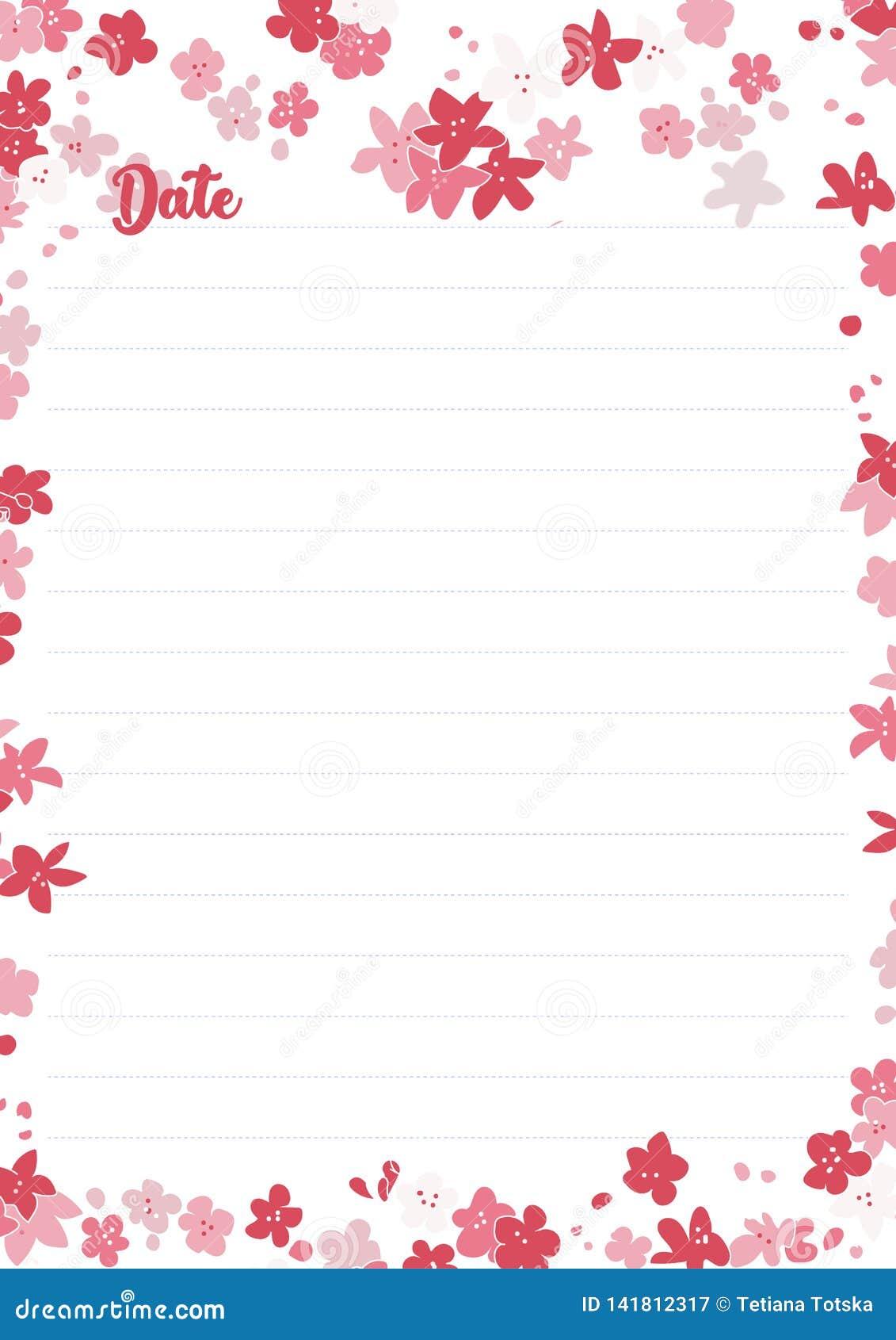 Nota della carta da stampa di vettore, dimensione ottimale A4 Carta di Kawaii per il taccuino, diario, pianificatori, lettere, no