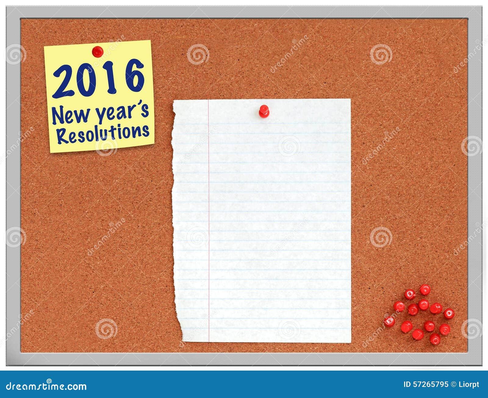 Nota delle risoluzioni di 2016 nuovi anni sul bordo del sughero