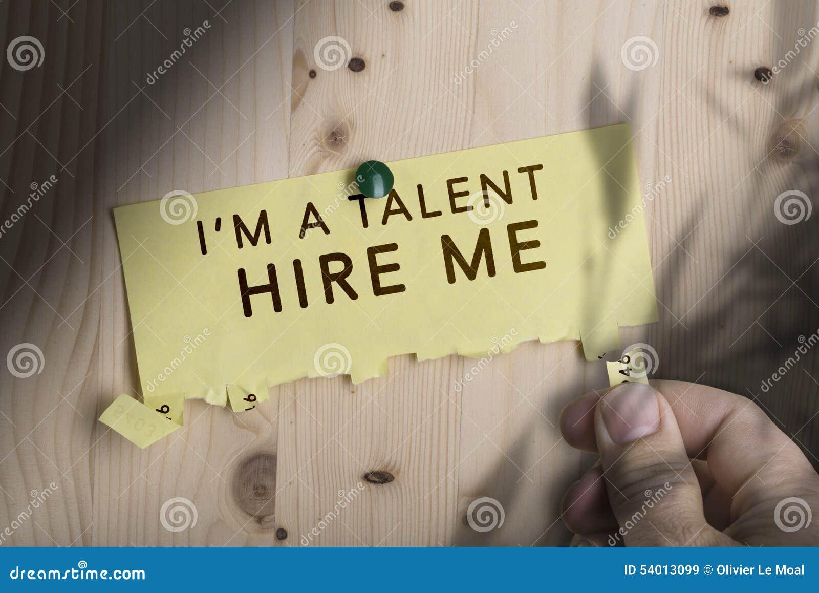 Nota desgarrable, trabajo del verano, alquiler del talento