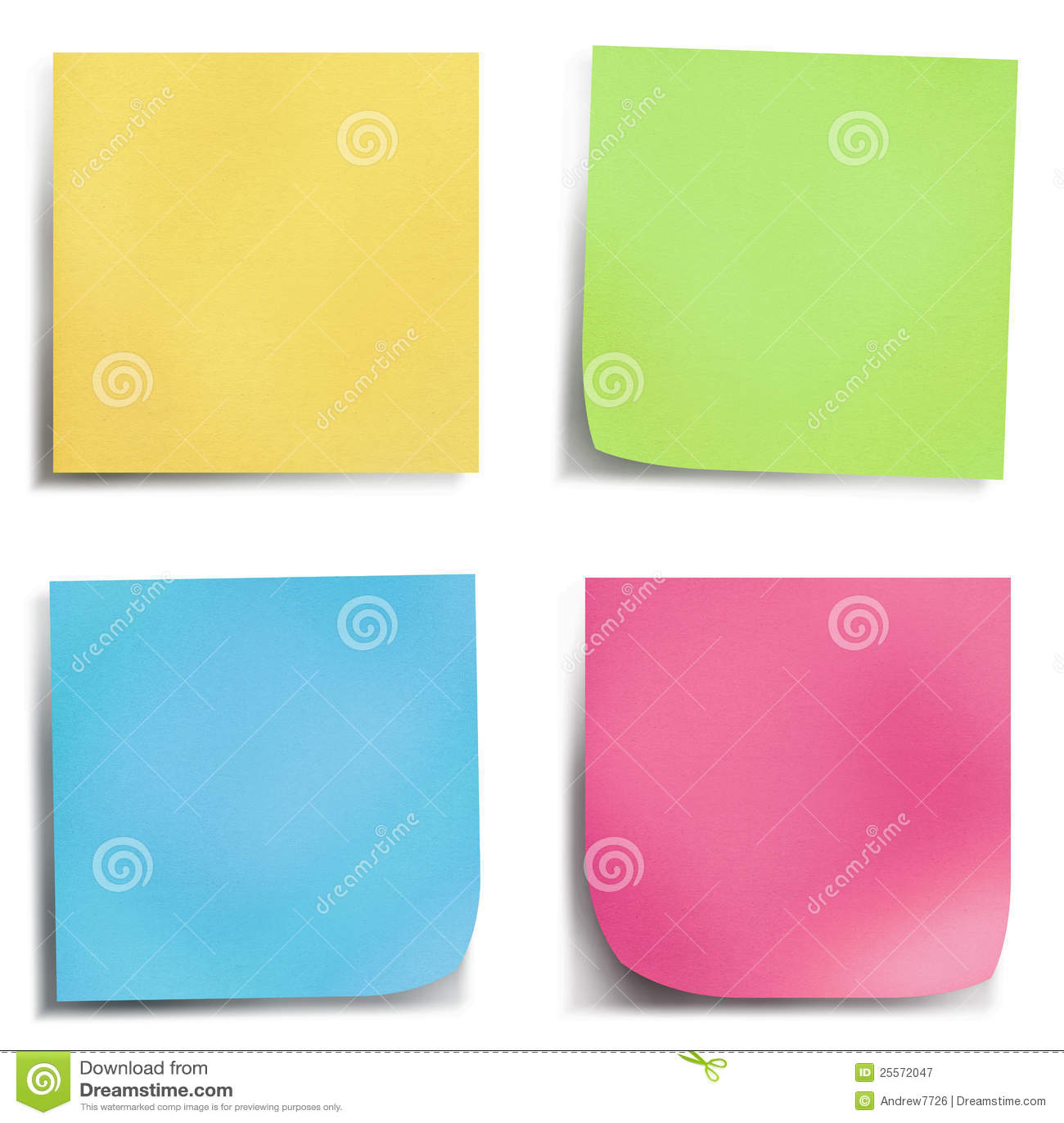Nota di post-it di quattro colori