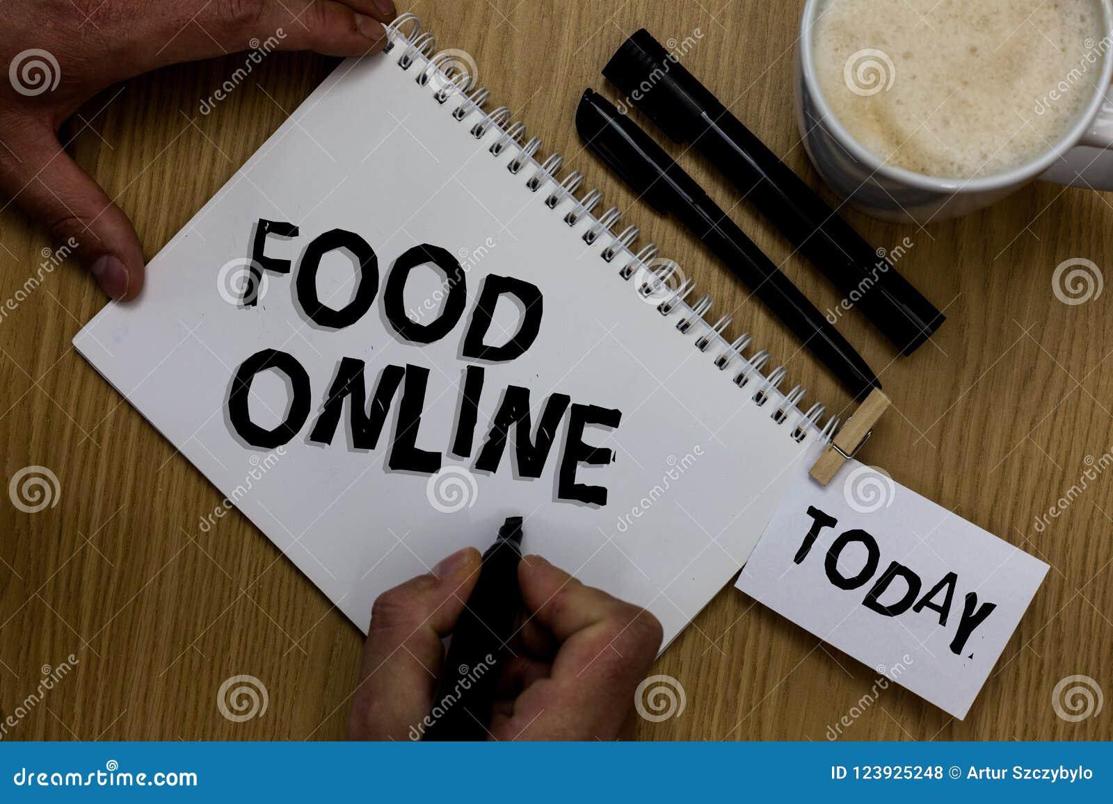 Nota di scrittura che mostra alimento online Foto di affari che montra chiedere qualcosa mangiare facendo uso del telefono app o