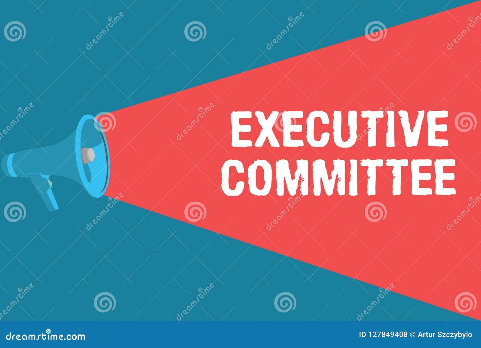 Nota di scrittura che mostra comitato esecutivo La foto di affari che montra il gruppo di direttori nominati ha autorità dentro