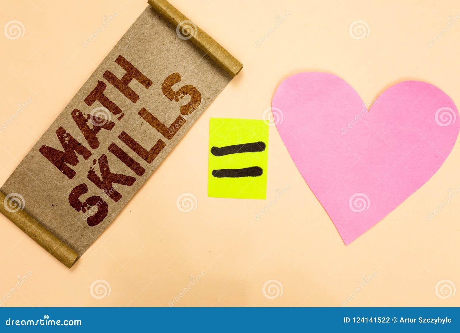 Nota di scrittura che mostra le abilità di per la matematica La foto di affari che montra cominciare imparare come contare i nume