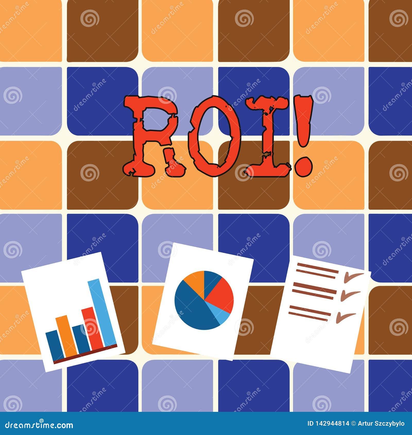 Nota di scrittura che mostra ROI Foto di affari che montra crescita di affari di guadagni di misura del perforanalysisce di ritor