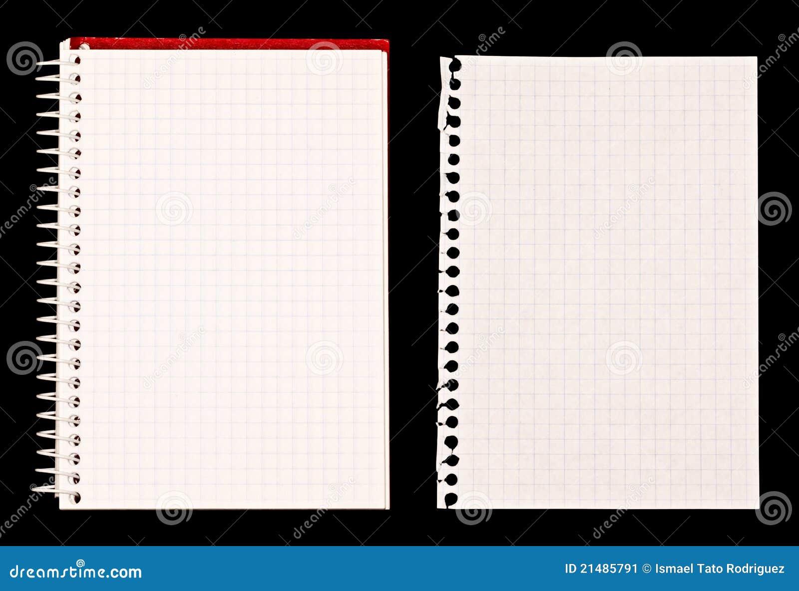 Nota do caderno e do papel