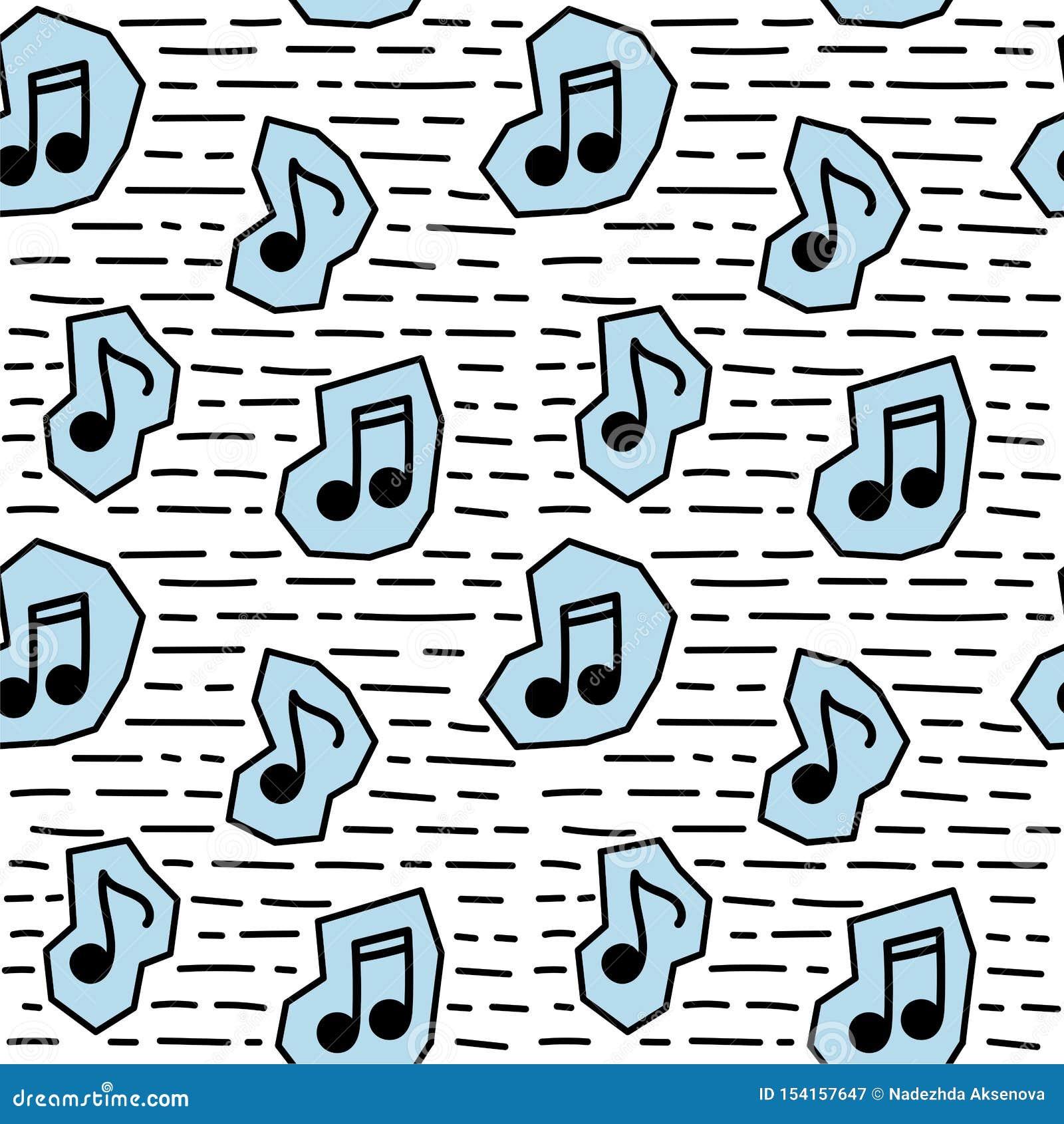 Nota inconsútil de la música del modelo en estilo del garabato