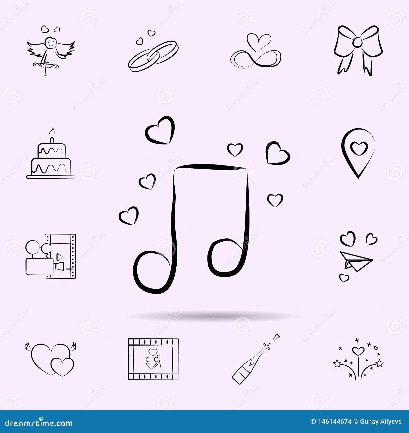 Nota musical con el icono de los corazones Sistema universal de boda para el dise?o y el desarrollo, desarrollo de la p?gina web