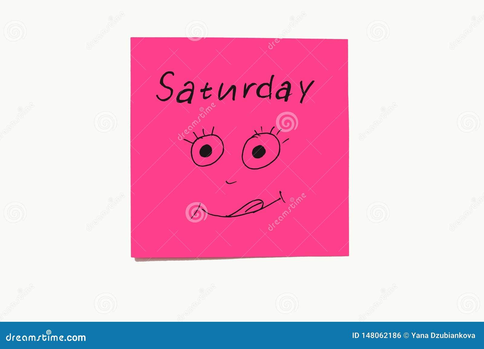 Nota sstickers om de dagen aan de week te herinneren Grappige nota s met geschilderde emoties, die op de dagen van de week wijzen