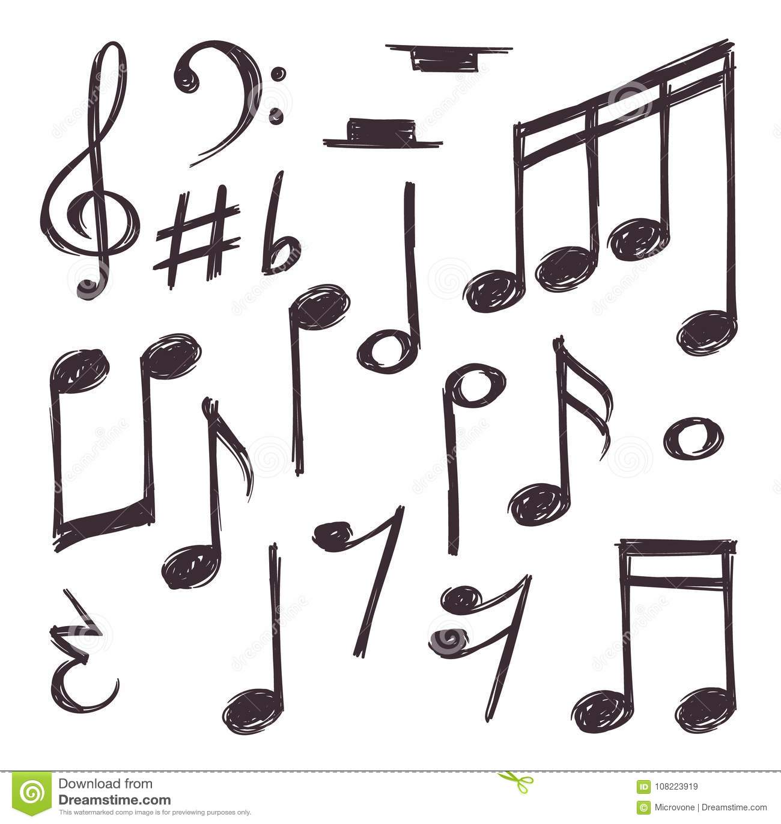 Nota Tirada Mao Da Musica Vector Os Simbolos Musicais Isolados Na