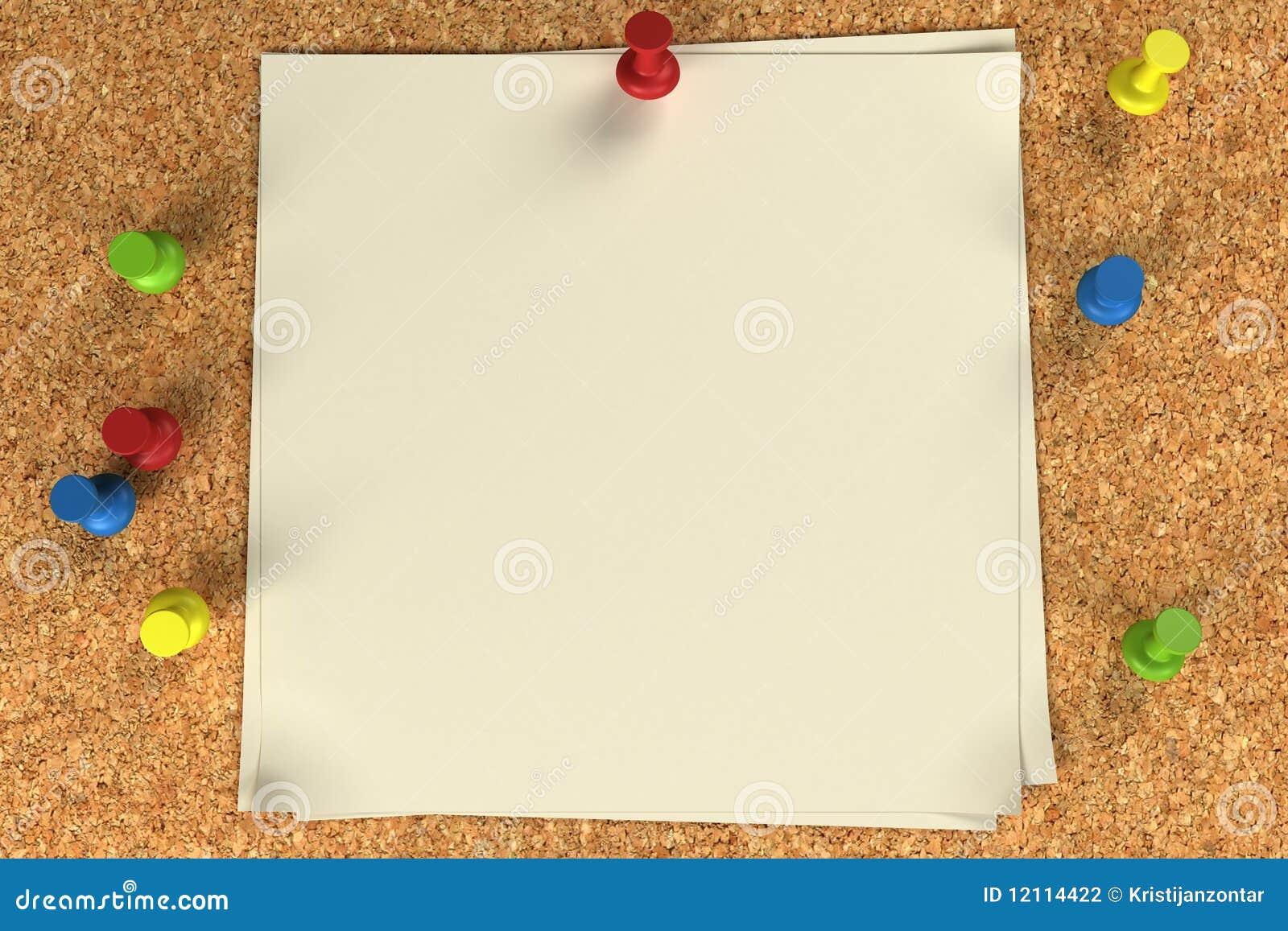 Nota y pasadores en una tarjeta del corcho fotograf a de - Corcho para fotos ...