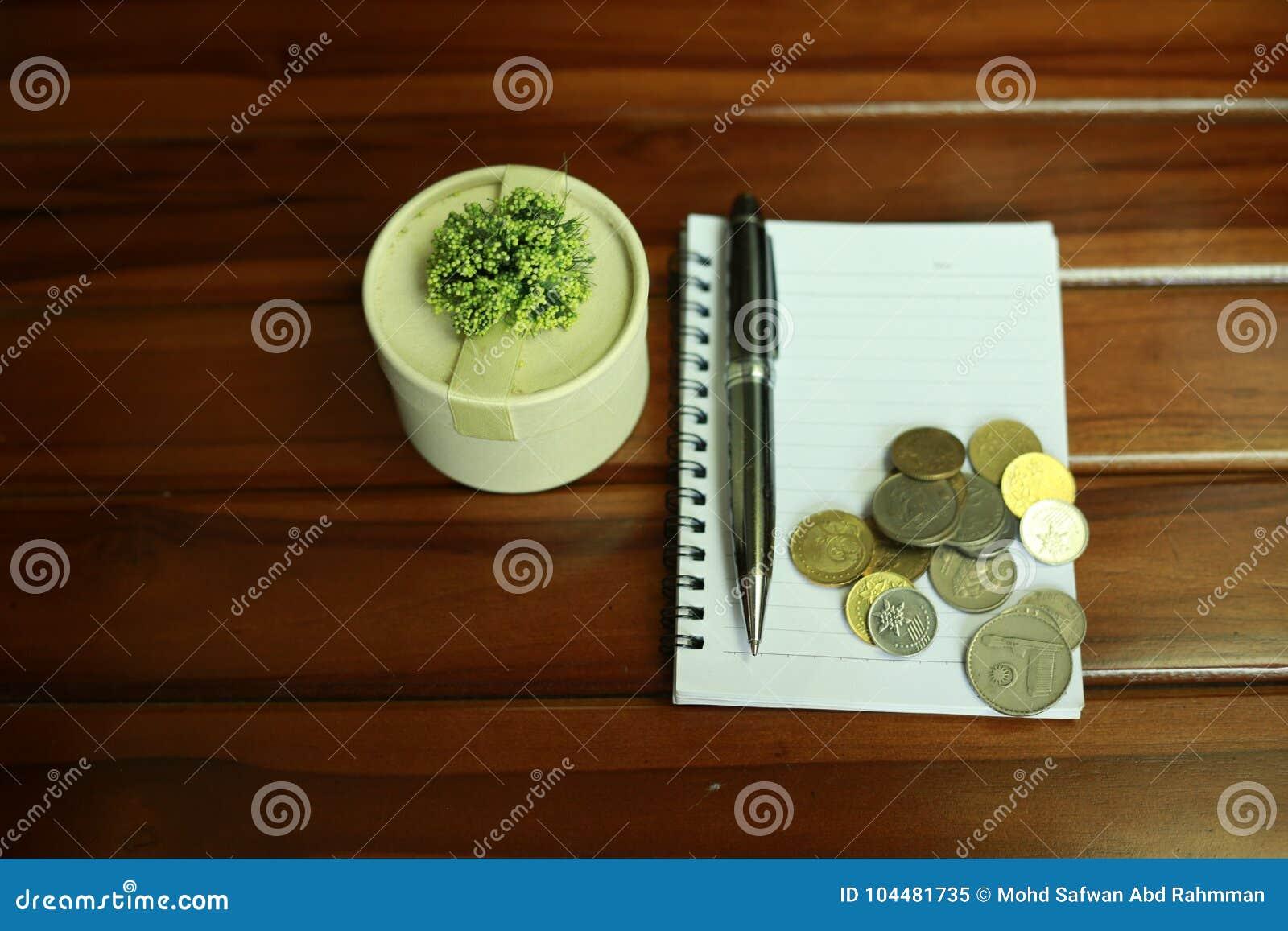 Notaboek, pen, muntstukken en decoratie op houten achtergrond wordt geïsoleerd die