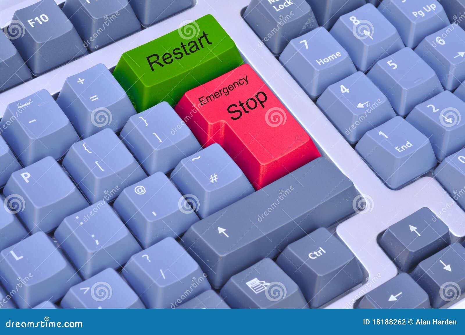Notanschlag u. -wiederanlauf auf einer Computertastatur