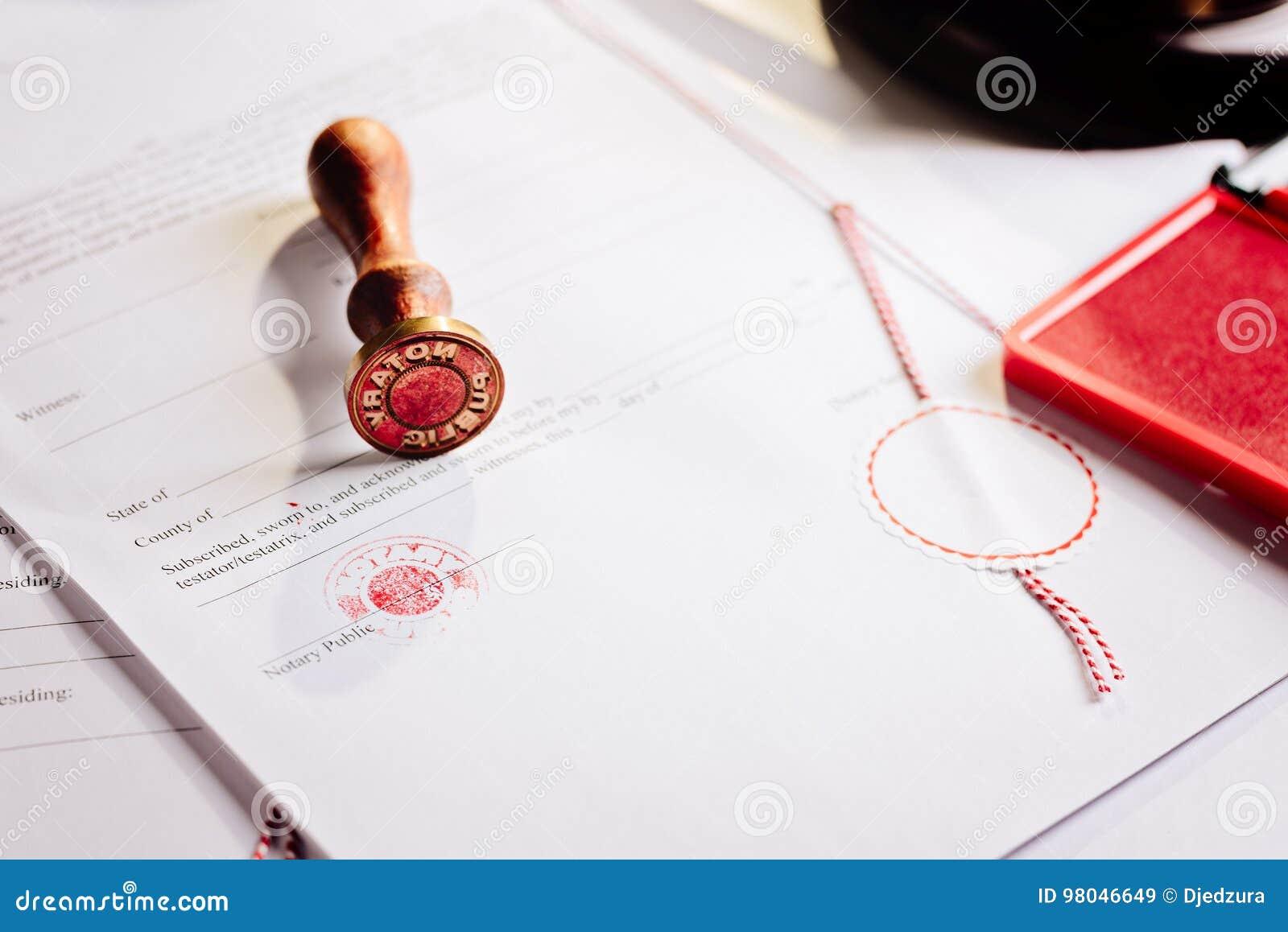 Notariusza społeczeństwa metalu stemplówka na testamencie