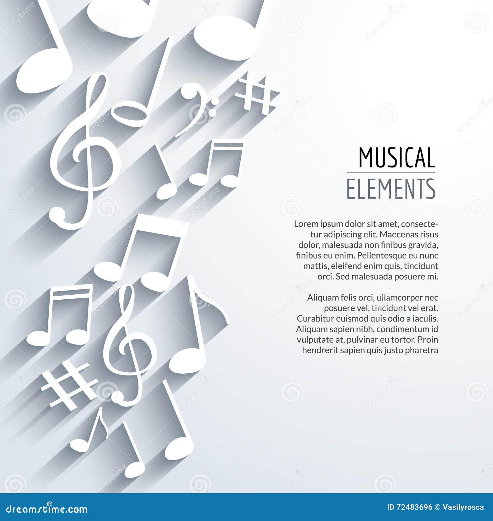 Notas abstratas da música do vetor com sombras No fundo branco Conceito musical