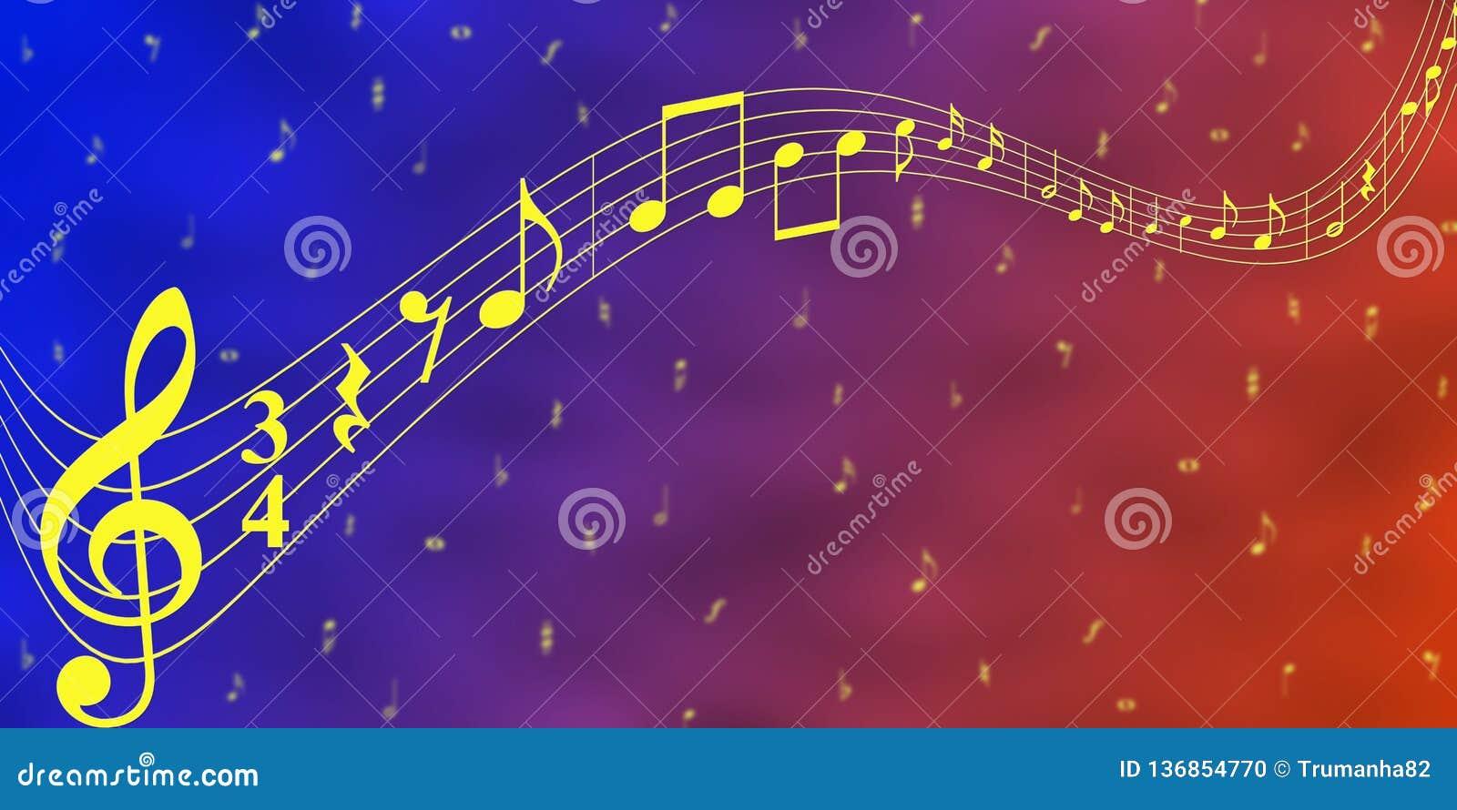 Notas amarelas da música no fundo azul e vermelho da bandeira