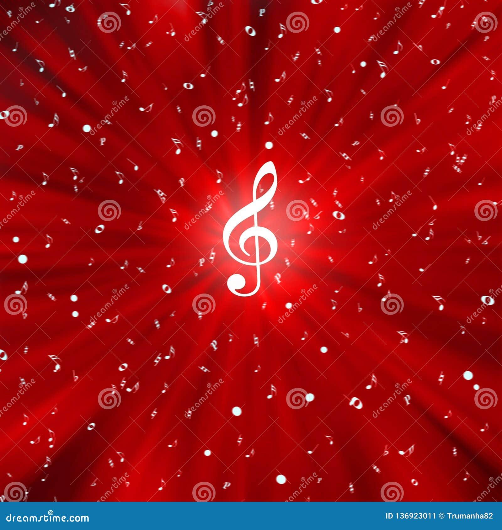Notas brancas radiais da música no fundo vermelho