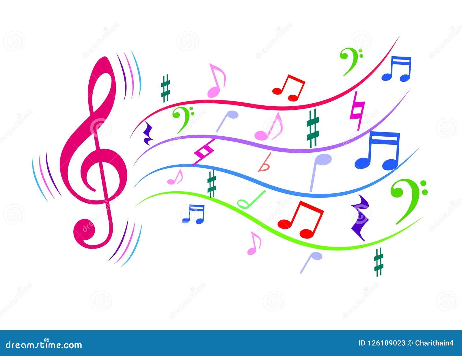 Notas coloridas de la música