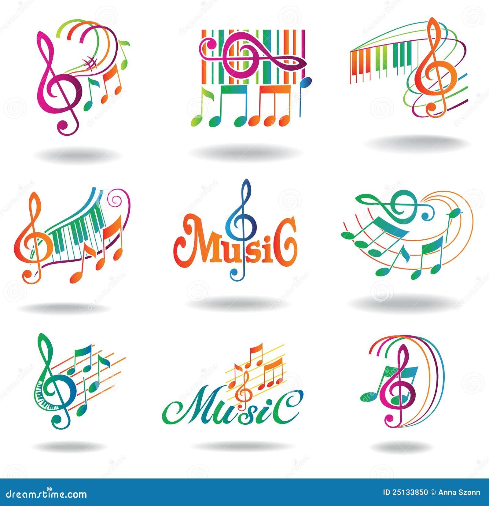 Notas coloridas de la música. Conjunto de elementos del diseño de la música