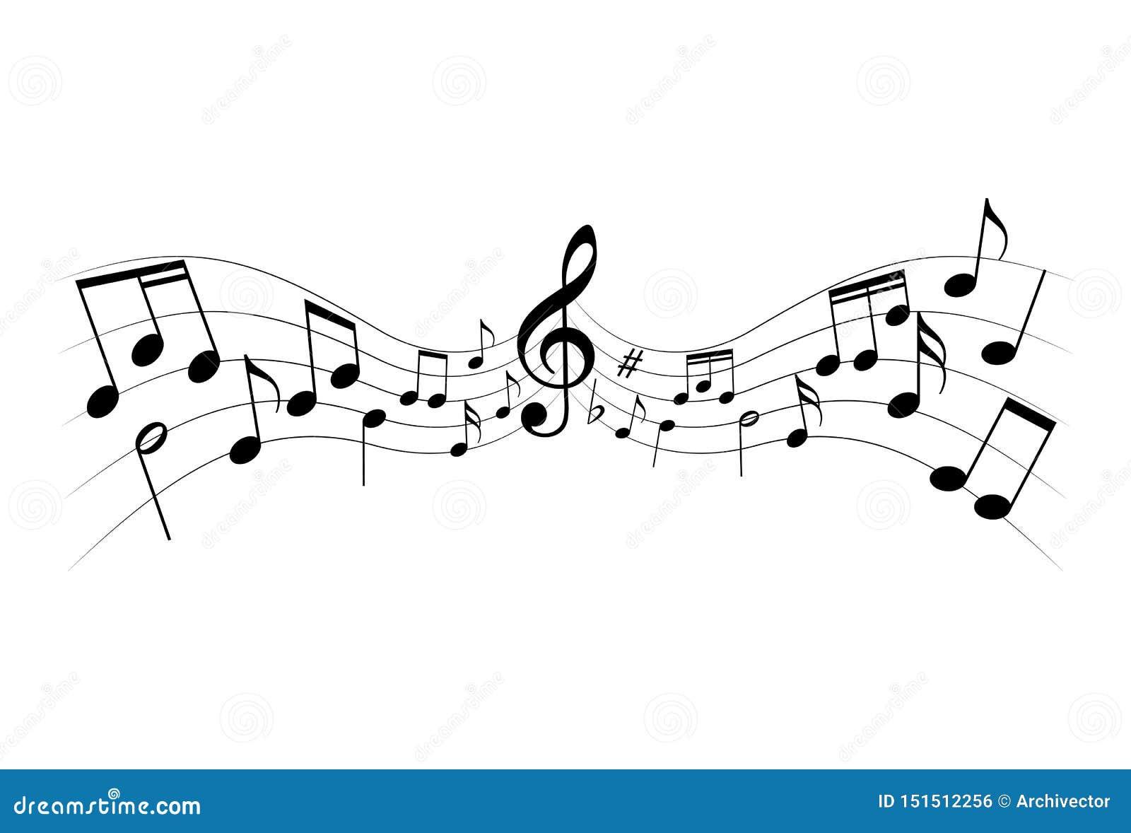 Notas da música como o fundo gráfico da melodia do símbolo