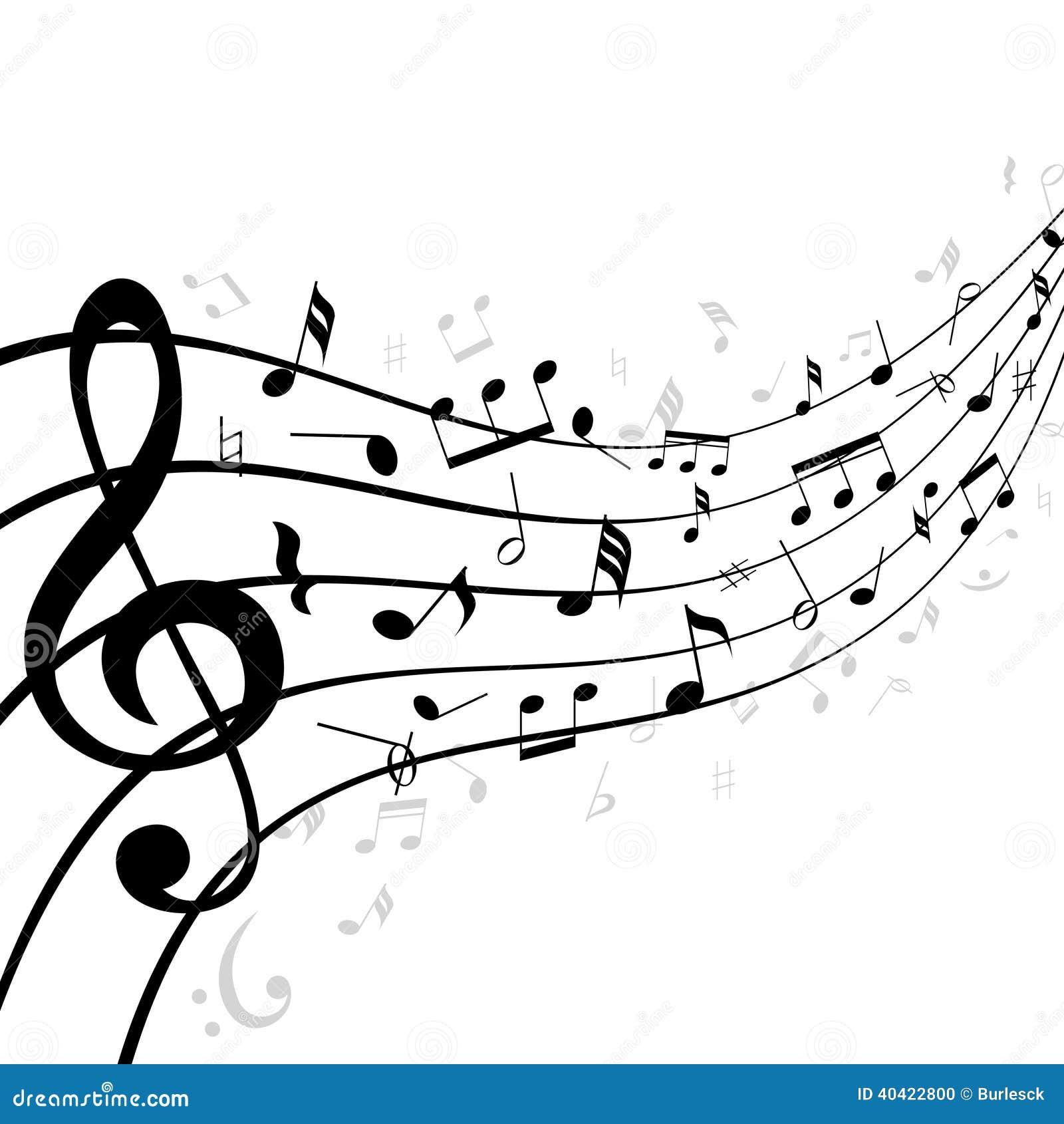 Notas da música em uma pauta musical ou em um pessoal