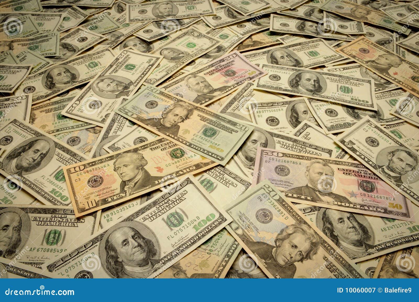 Notas de banco americanas de várias denominações