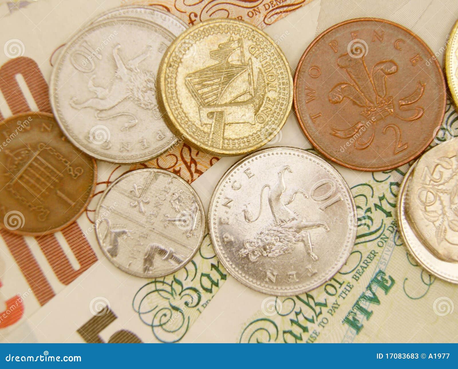 Notas de banco e moedas do GBP
