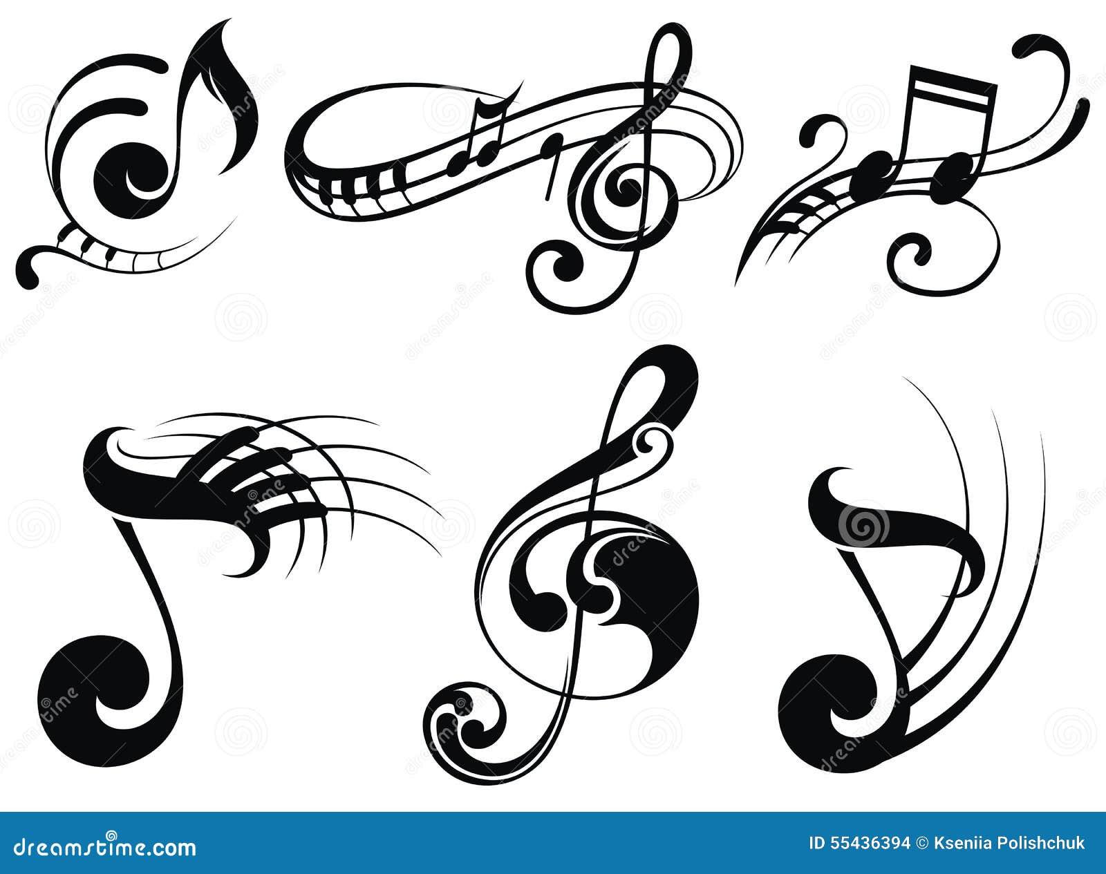 Notas de la música sobre bastones