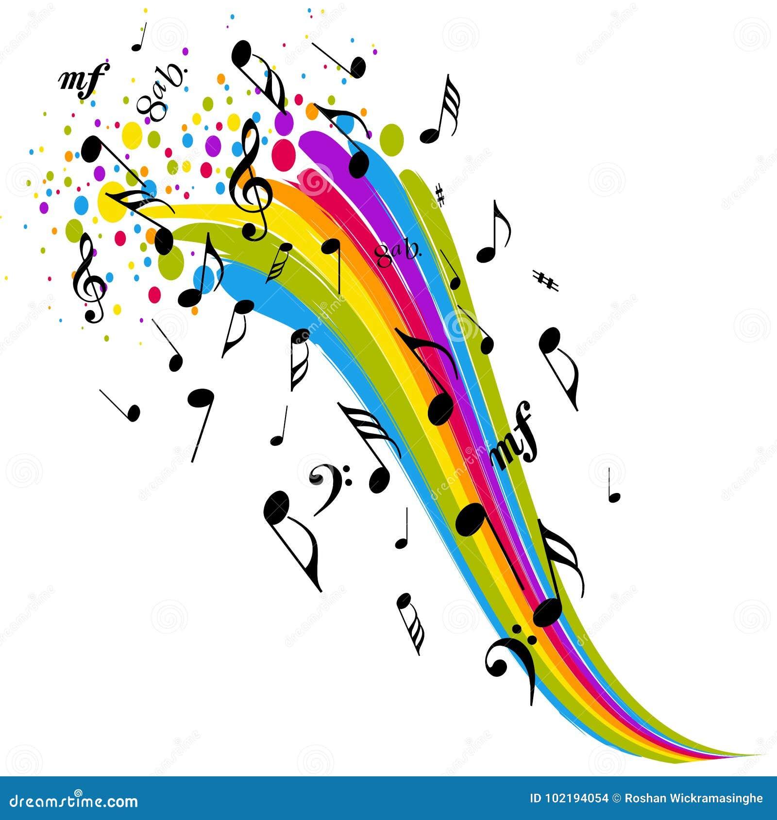 Notas del color del arco iris de la muestra de la música
