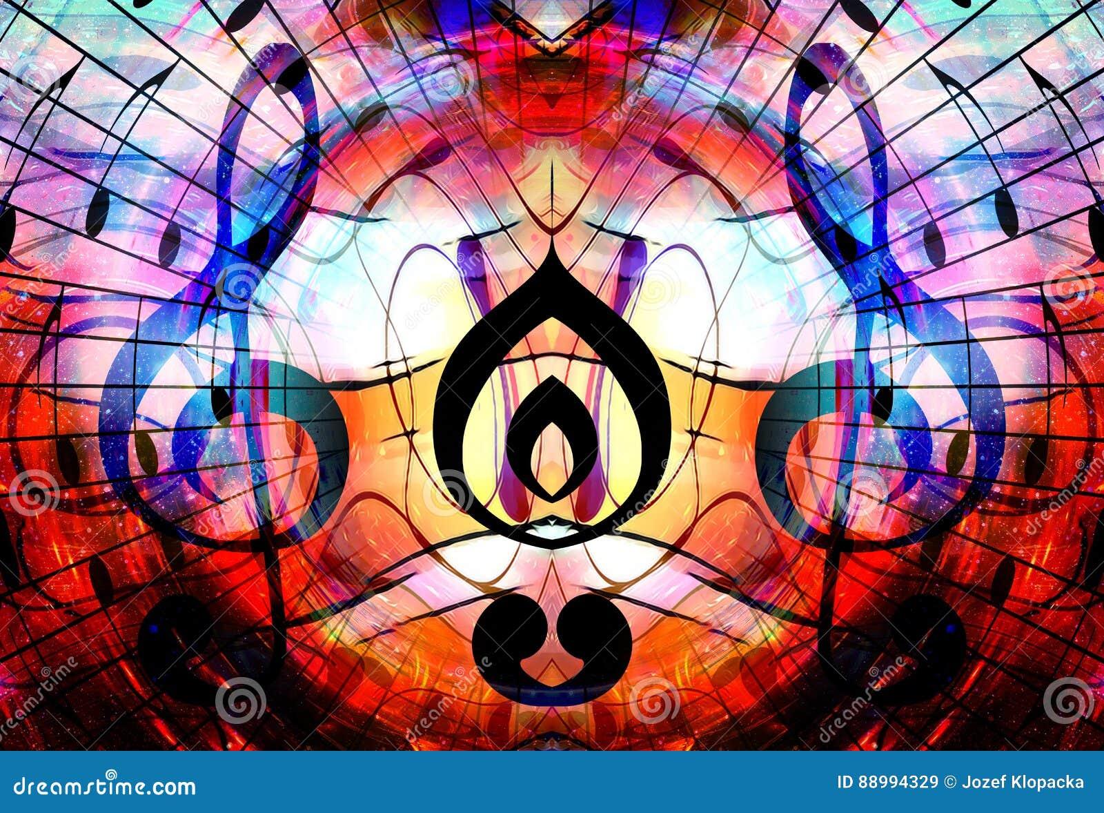 Notas e clave da música no espaço com estrelas Fundo abstrato da cor Conceito da música