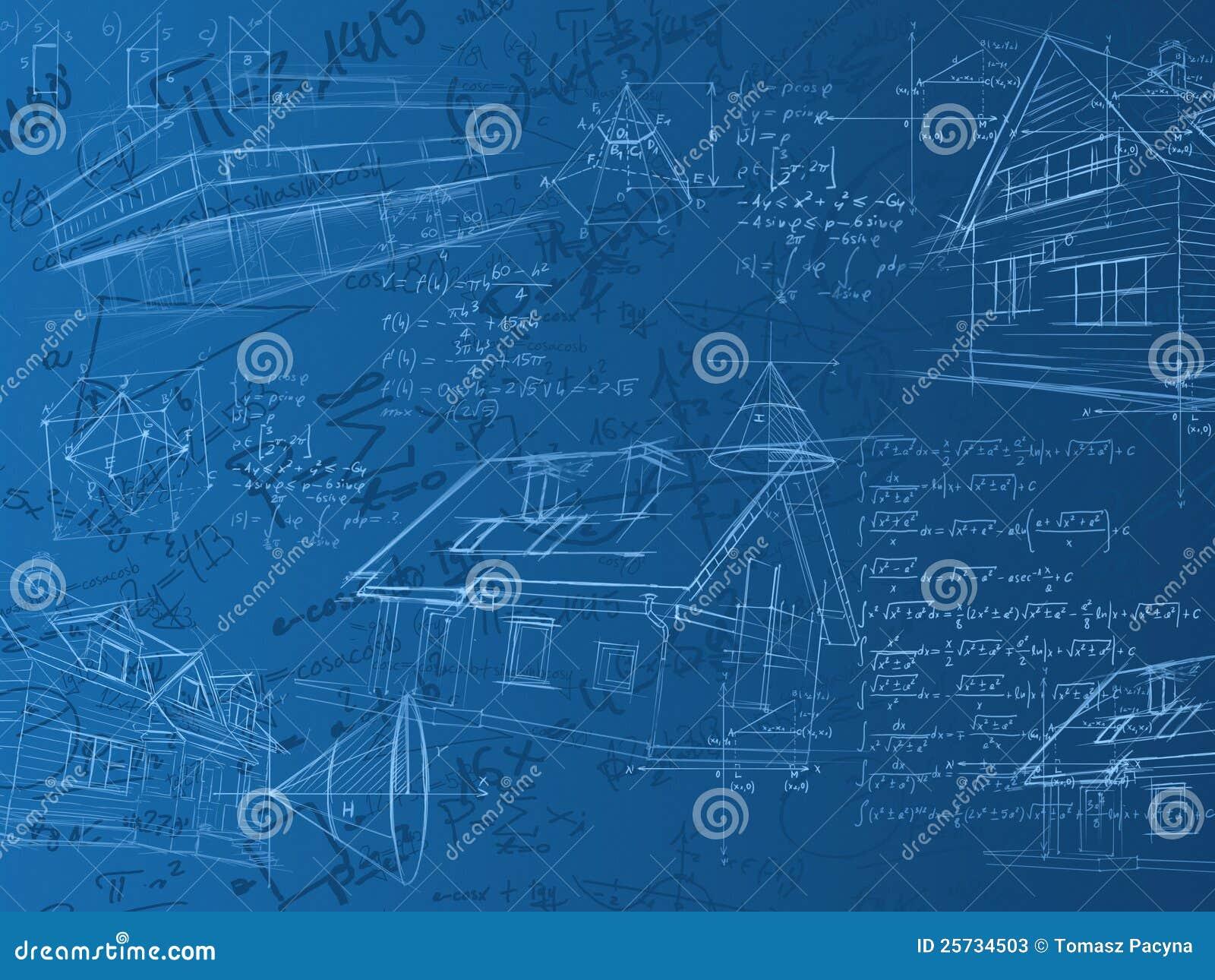 Notas, fórmulas y bosquejos azules del cálculo