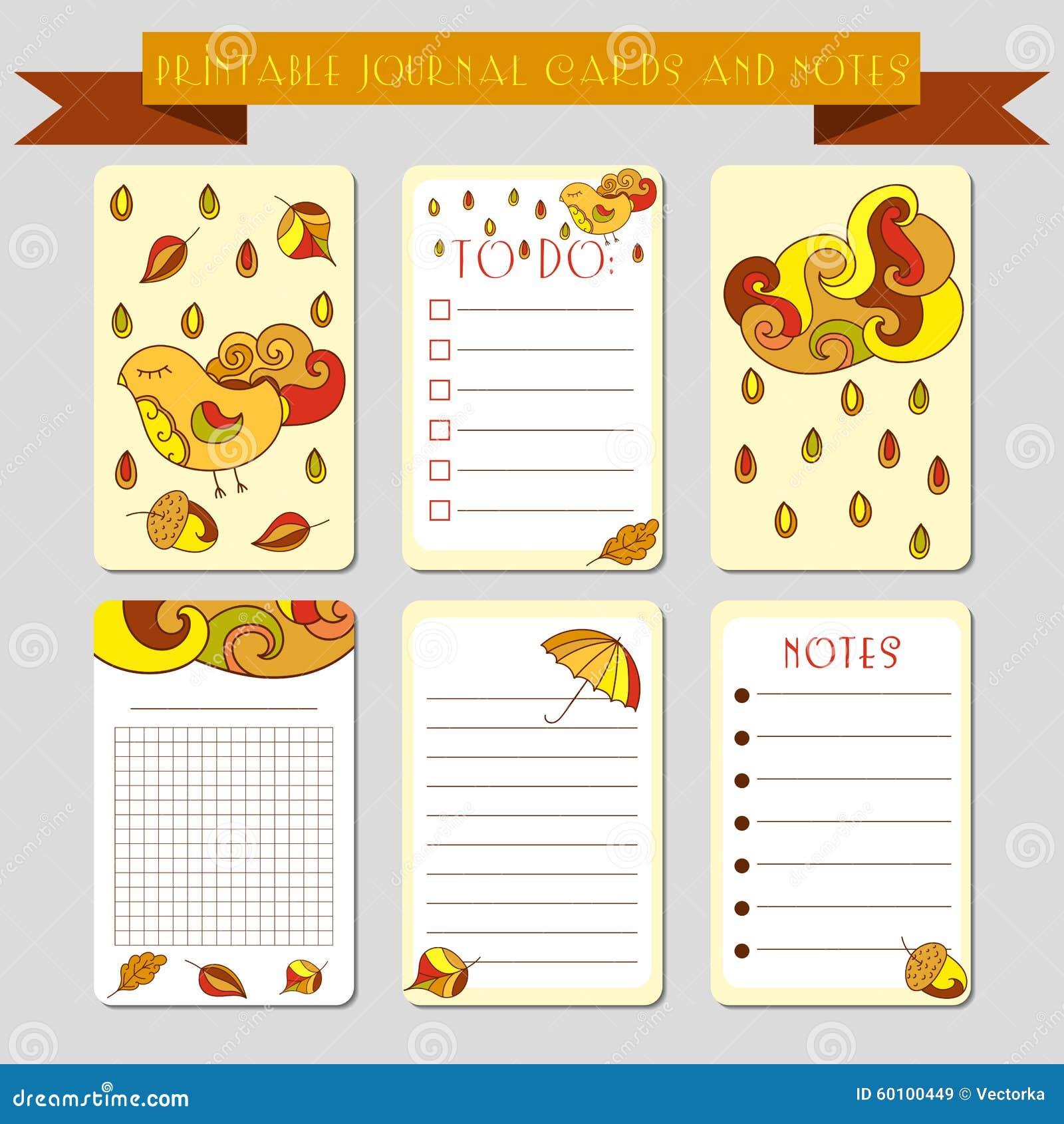 Notas imprimibles, tarjetas del diario con los ejemplos del autmun Plantilla para la reservación del pedazo, envolviendo, libreta