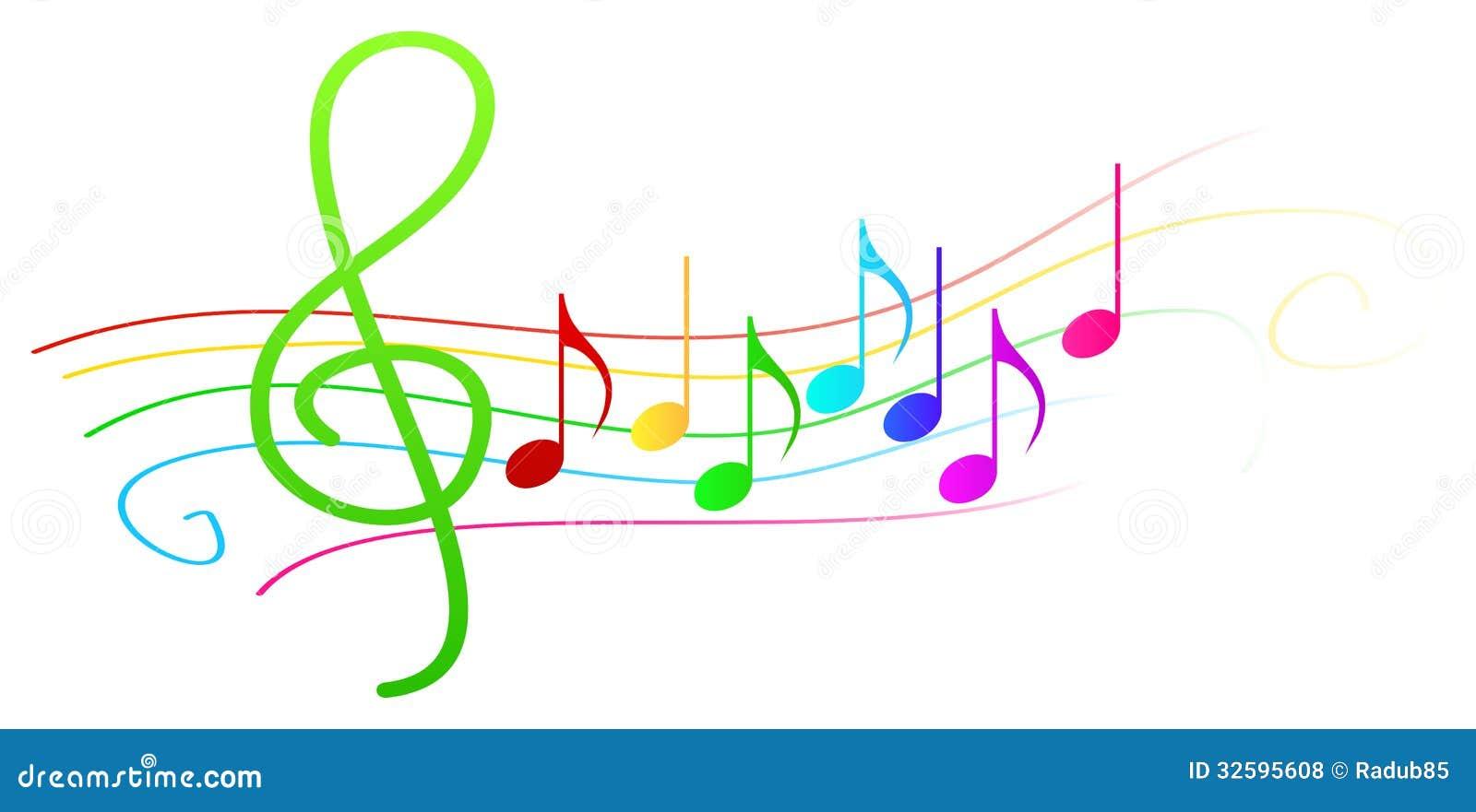 Notas Musicais Coloridas Na Pauta Musical Ilustrao Do