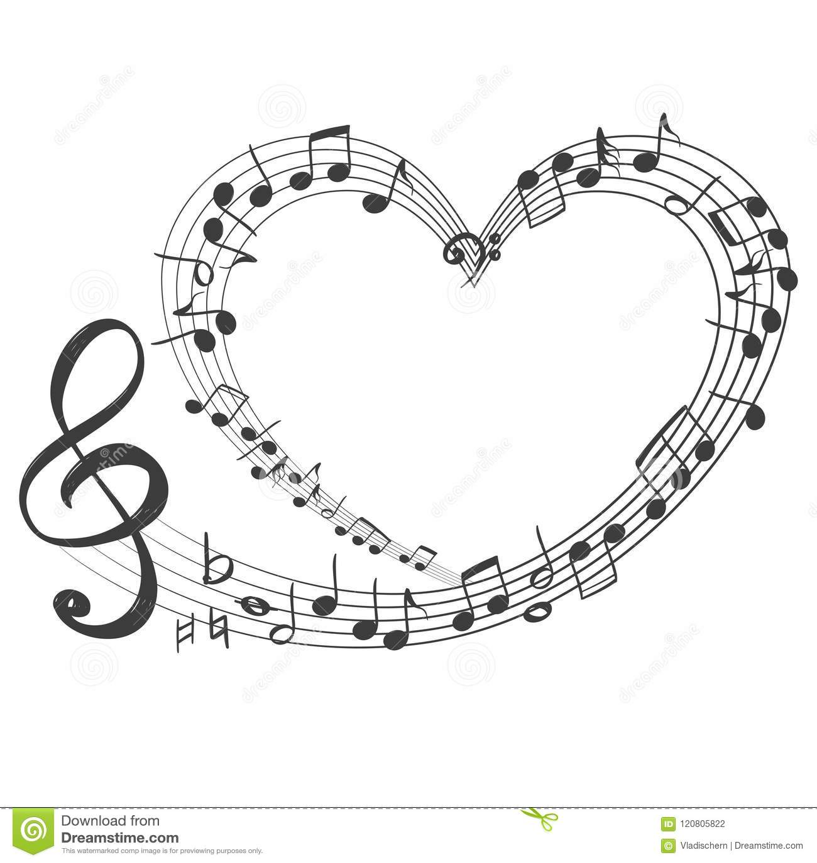 Notas Musicales Bajo La Forma De Icono Del Corazón Música Del Amor