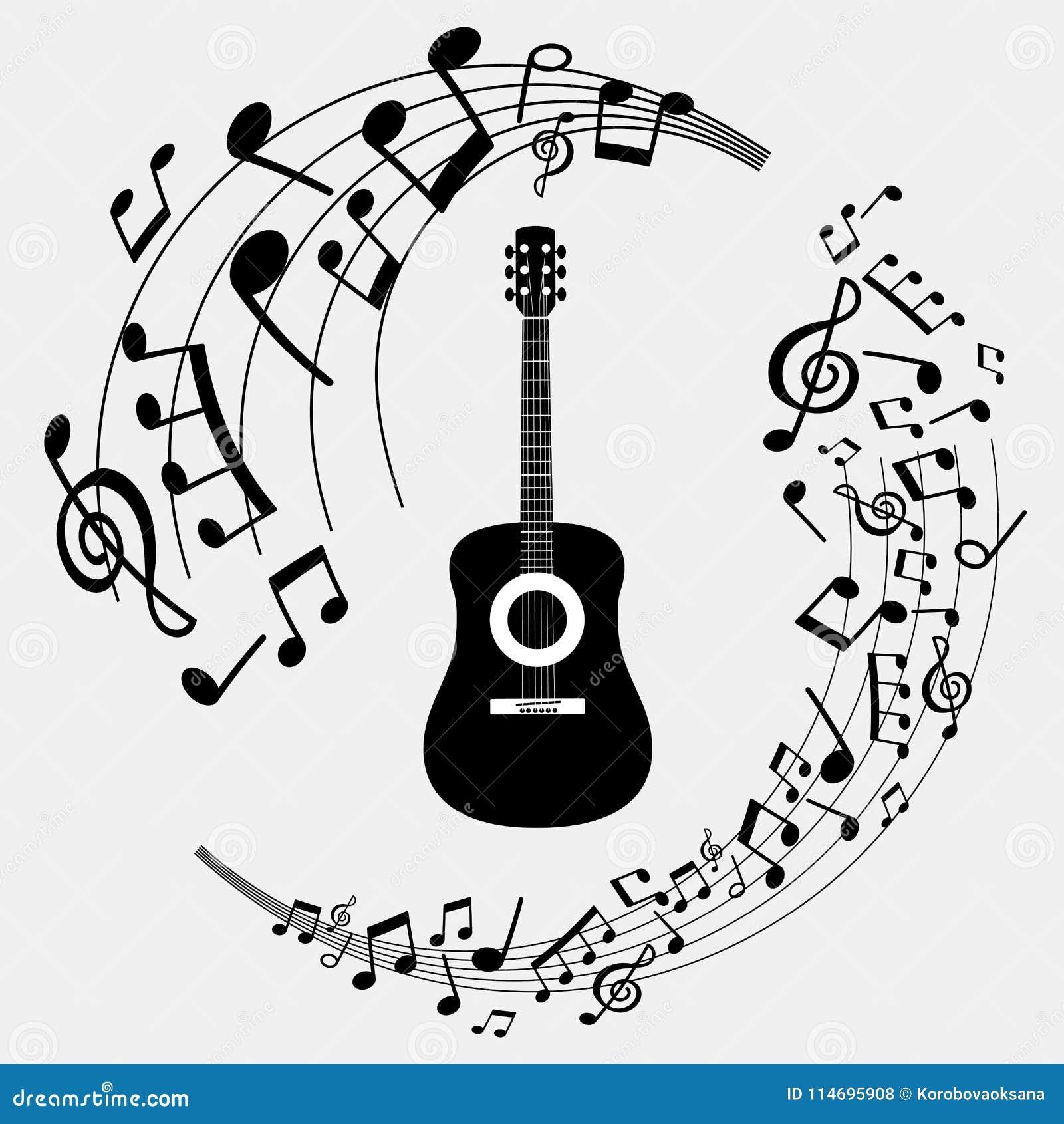 Notas Musicales Y Guitarra De La Bandera Del Ejemplo Stock De