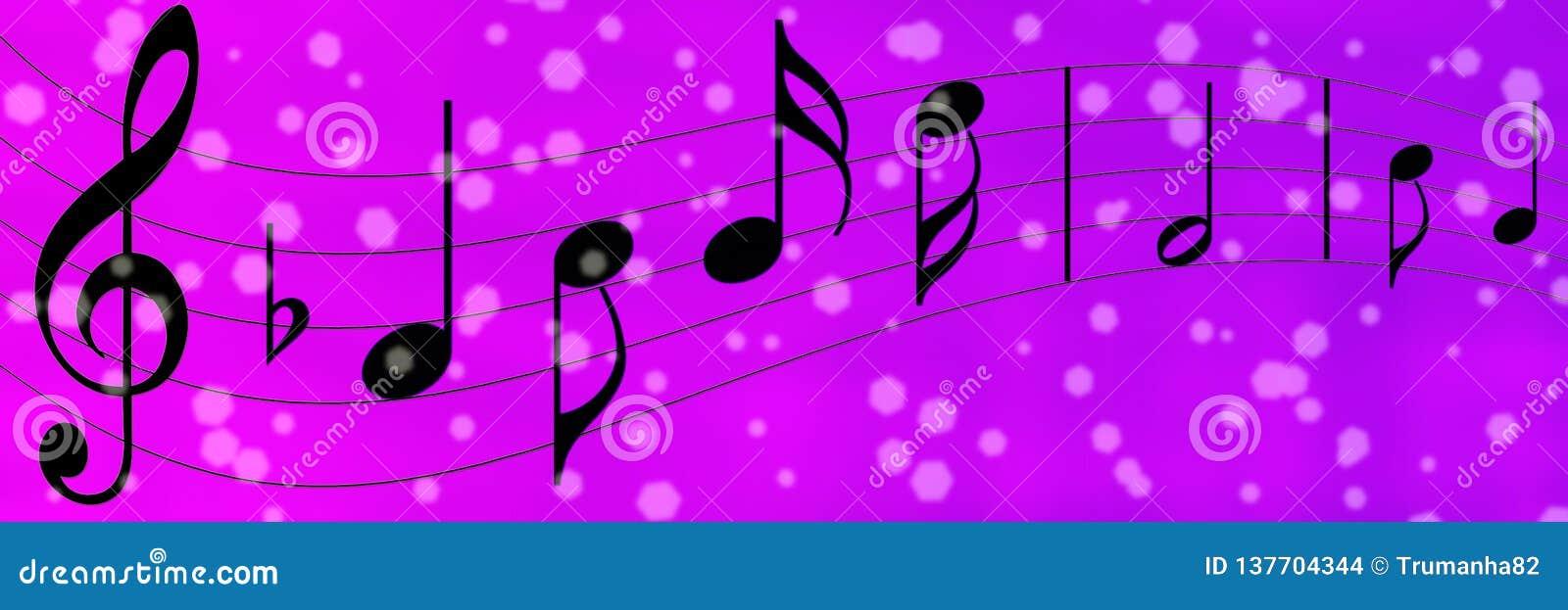 Notas negras de la música en púrpura y Violet Banner Background
