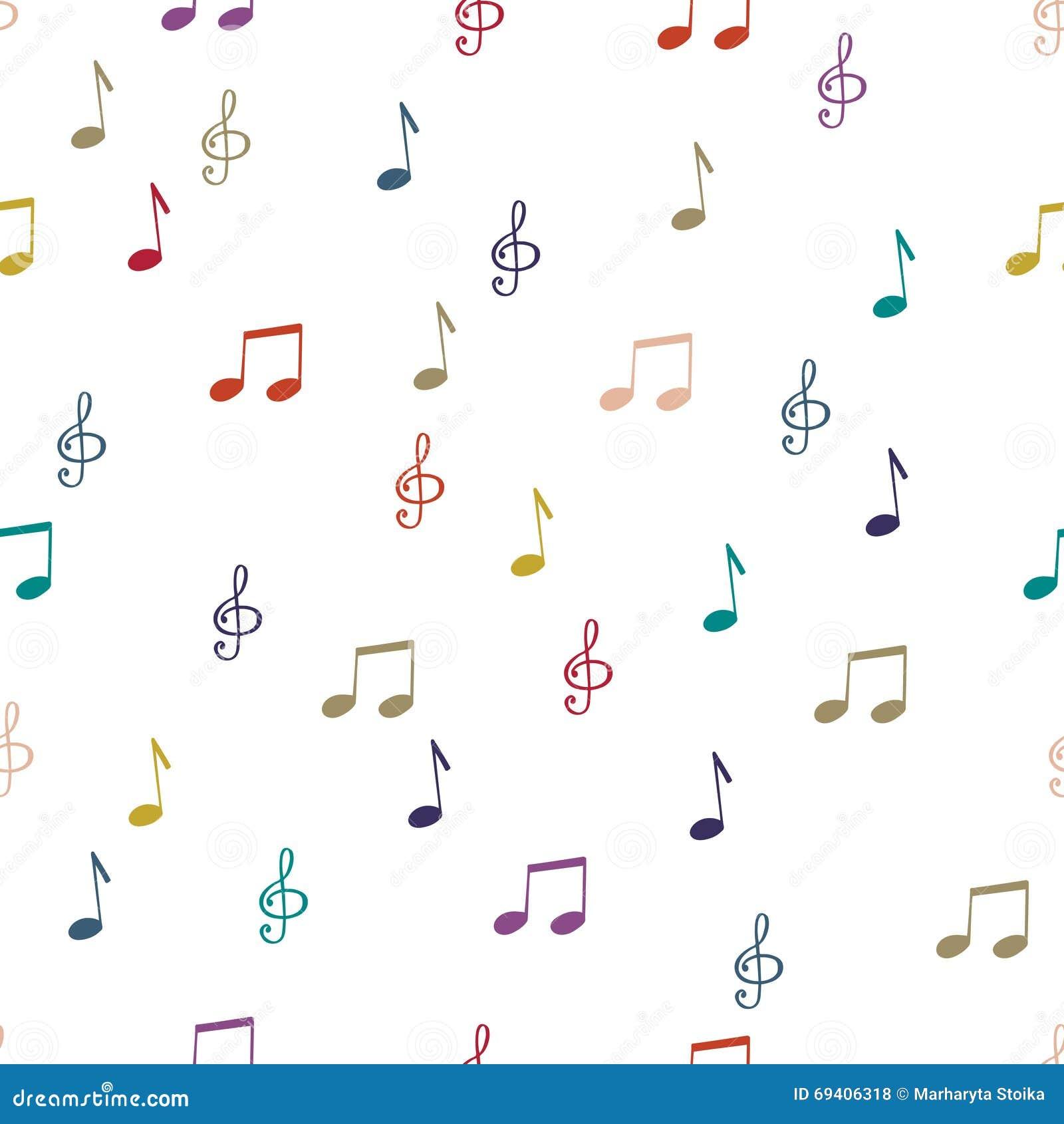 Notas Notas de fundo sem emenda do teste padrão Notas da música, vetor da clave de sol