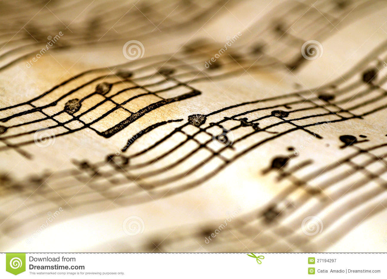 Notas onduladas de la música