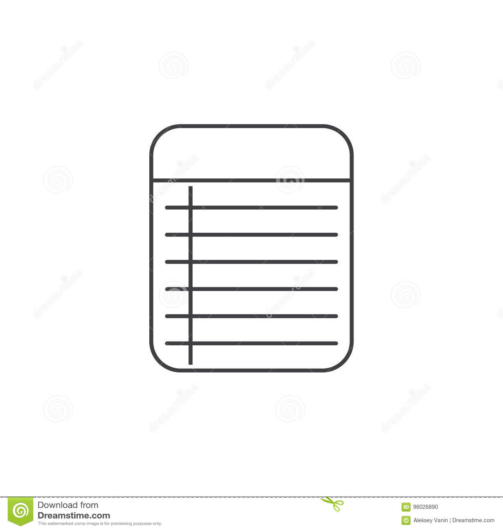 Notatki Notepad cienka kreskowa ikona, konturu loga wektorowa ilustracja, l