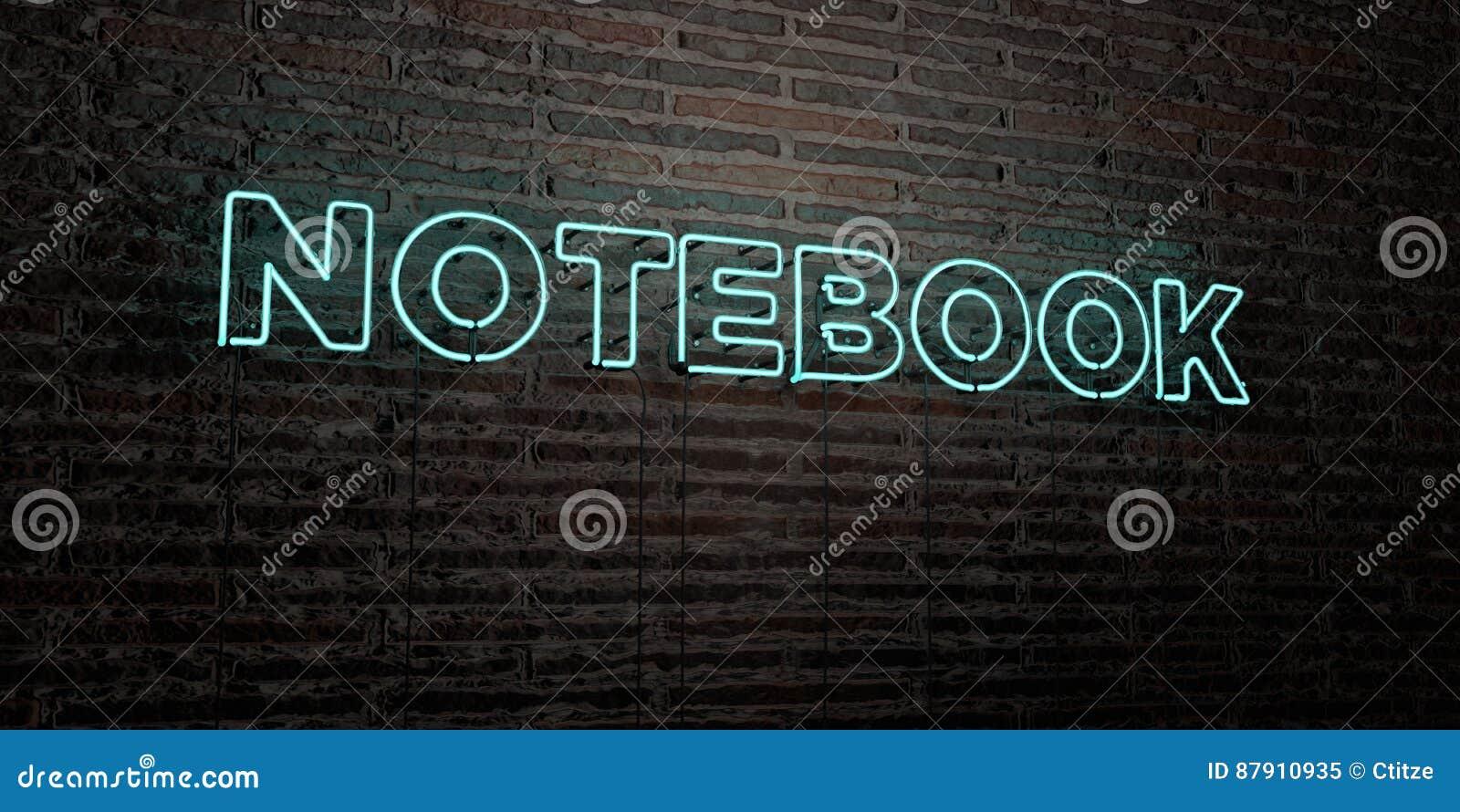 NOTATNIK - Realistyczny Neonowy znak na ściana z cegieł tle - 3D odpłacający się królewskość bezpłatny akcyjny wizerunek