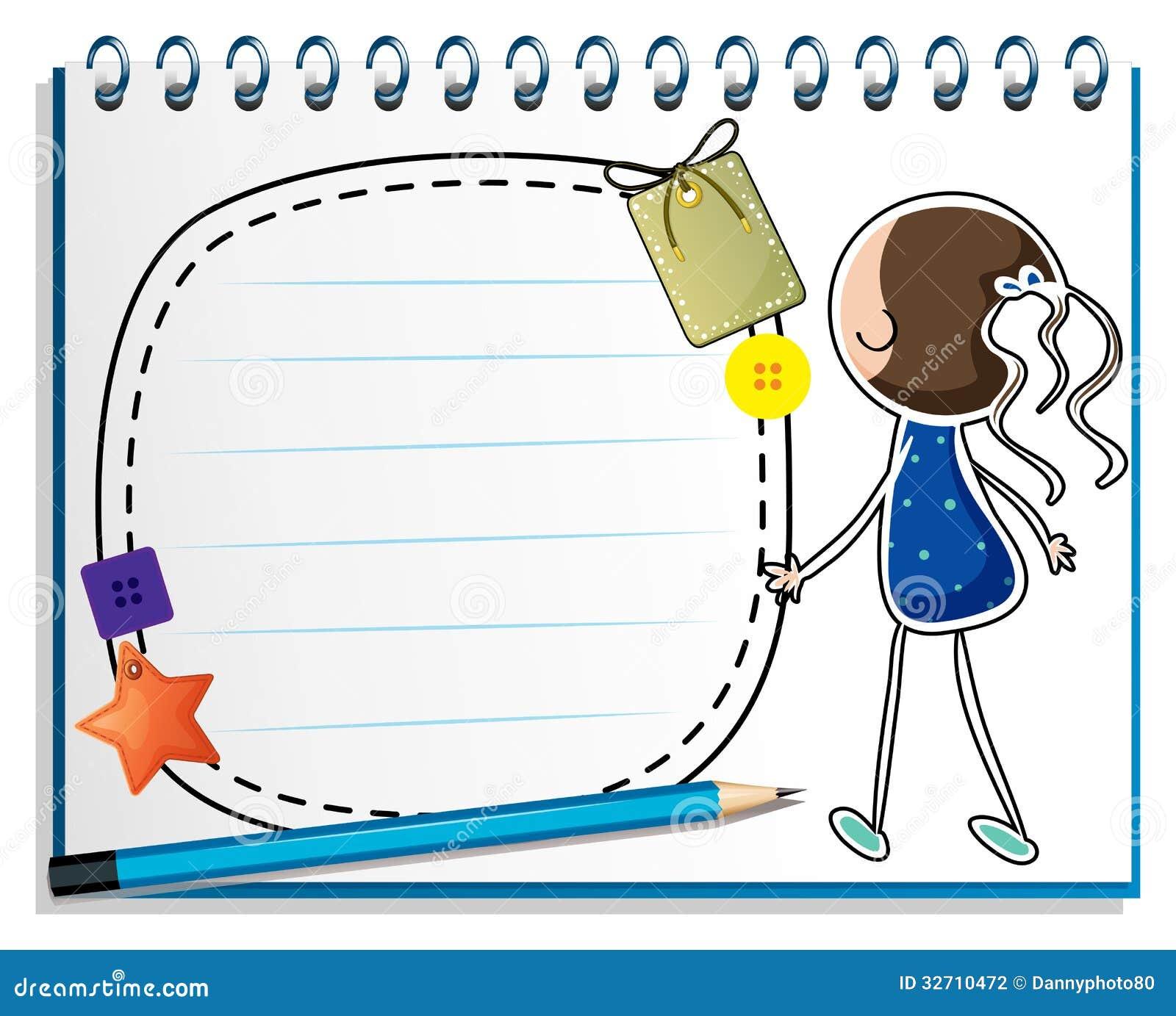 Notatnik z nakreśleniem dziewczyna w błękitnej sukni