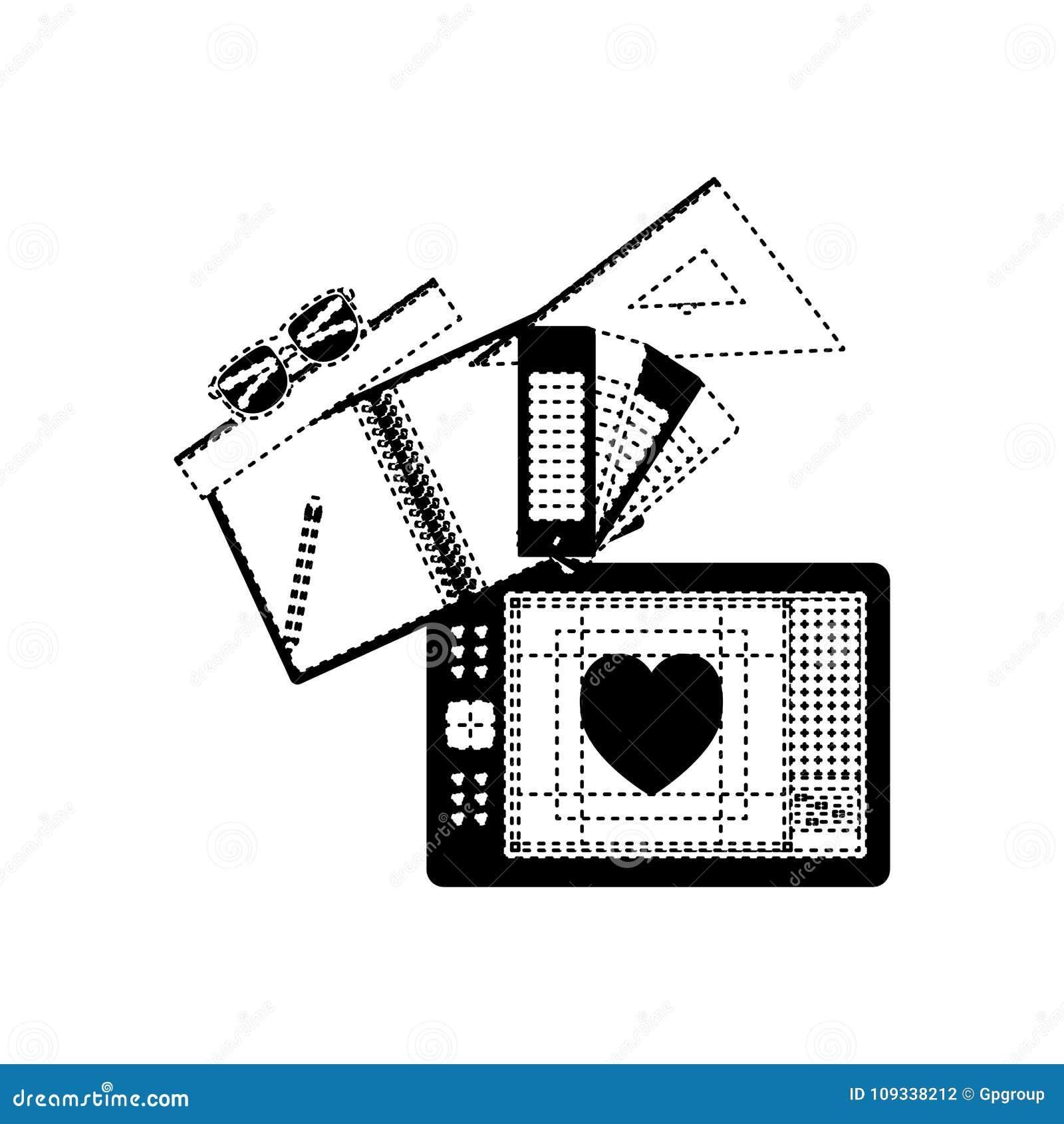 Notatnika i projekta narzędzia i pastylki digitizer w czerń kropkującym konturze