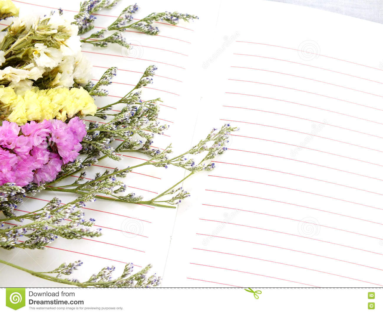 Note Book Diary And Beautiful Flower Bouquet With Vintage Filter