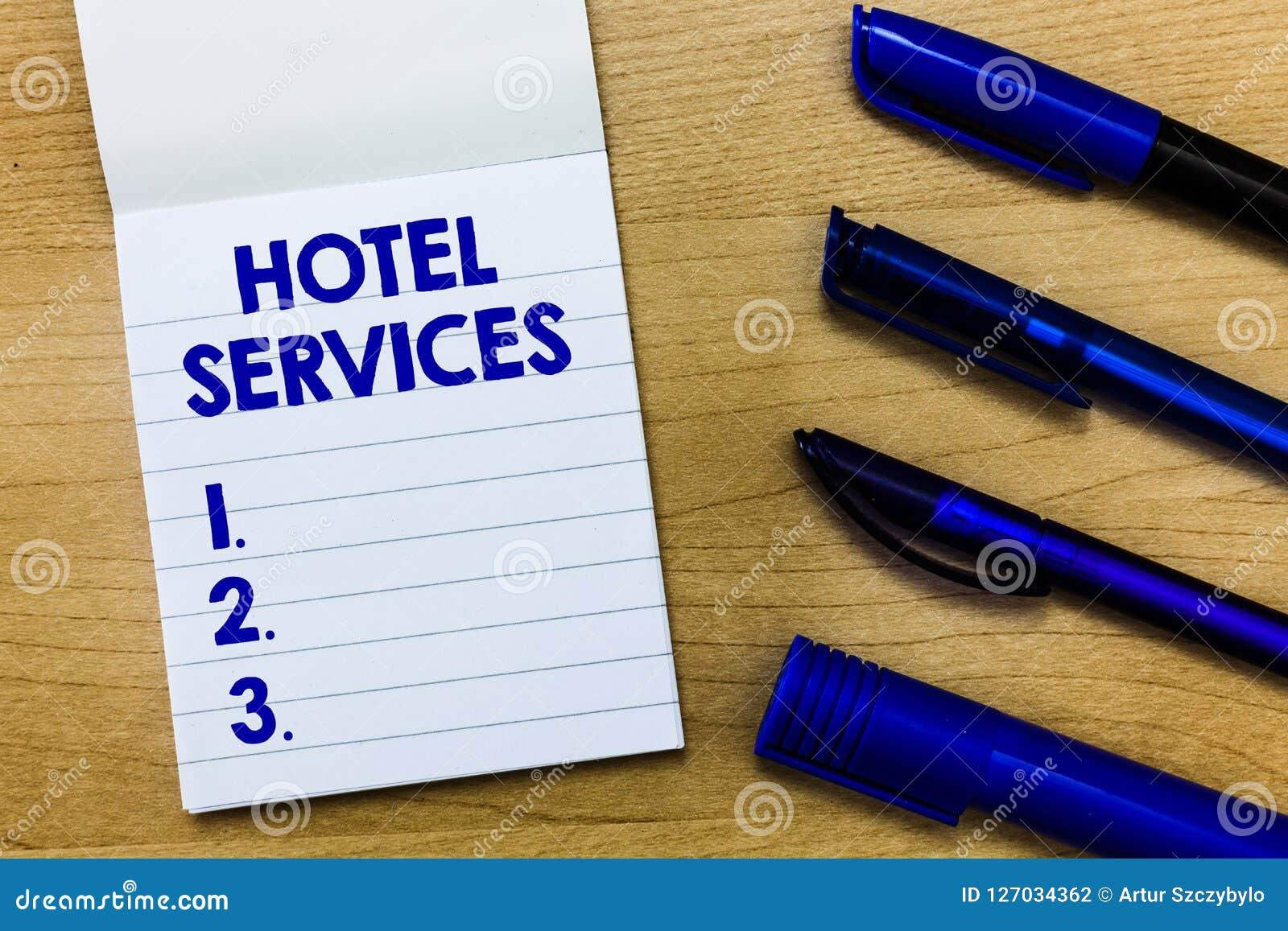 Note d écriture montrant des services hôteliers Agréments de présentation d équipements de photo d affaires d une maison de logem