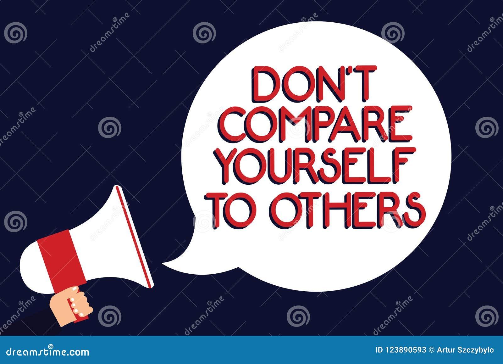 Note d écriture montrant Don t pour ne pas se comparer à d autres La présentation de photo d affaires soit votre propre holdi ori