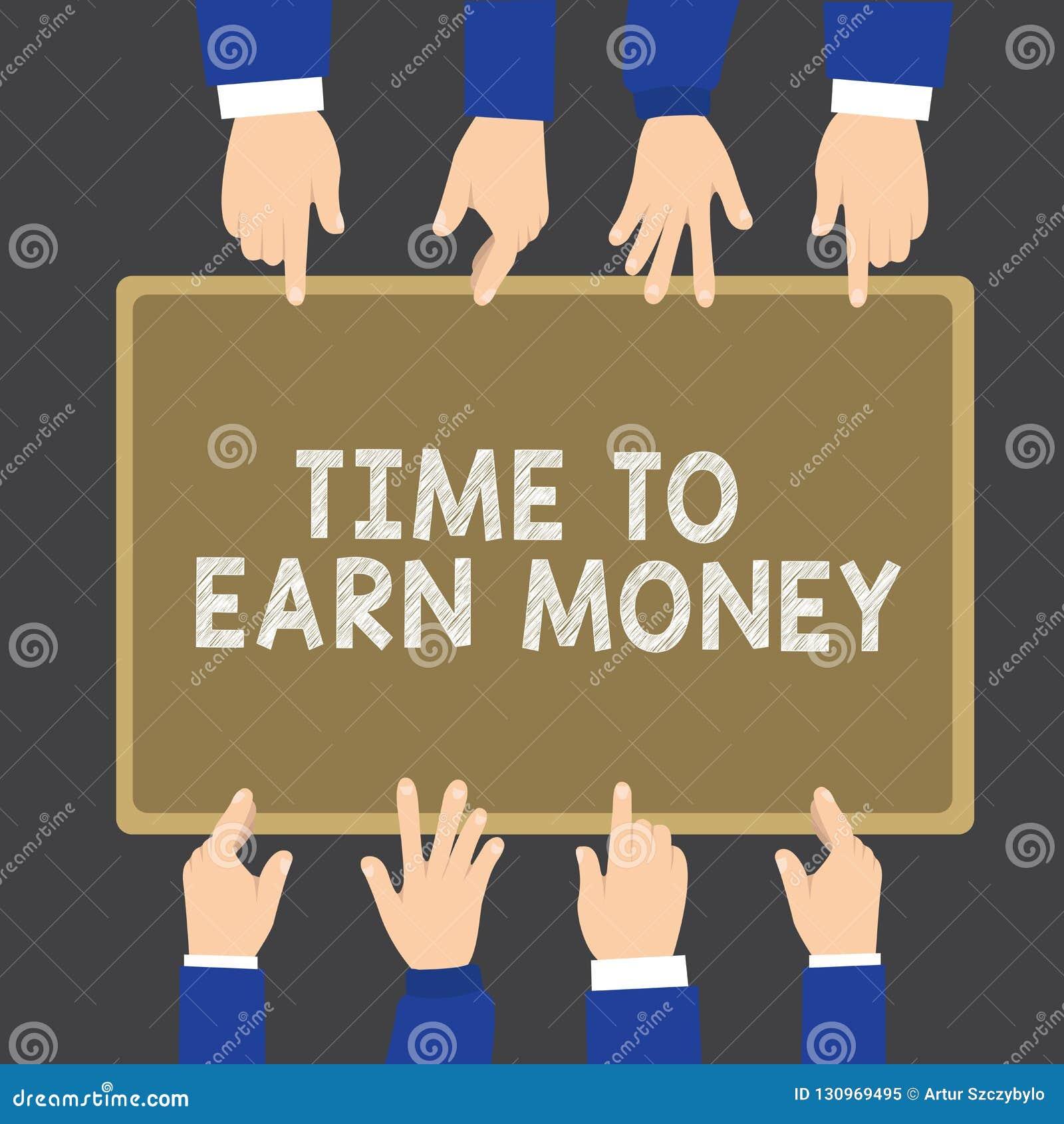 Note d écriture montrant l heure de gagner l argent La présentation de photo d affaires deviennent payée pour le travail effectué