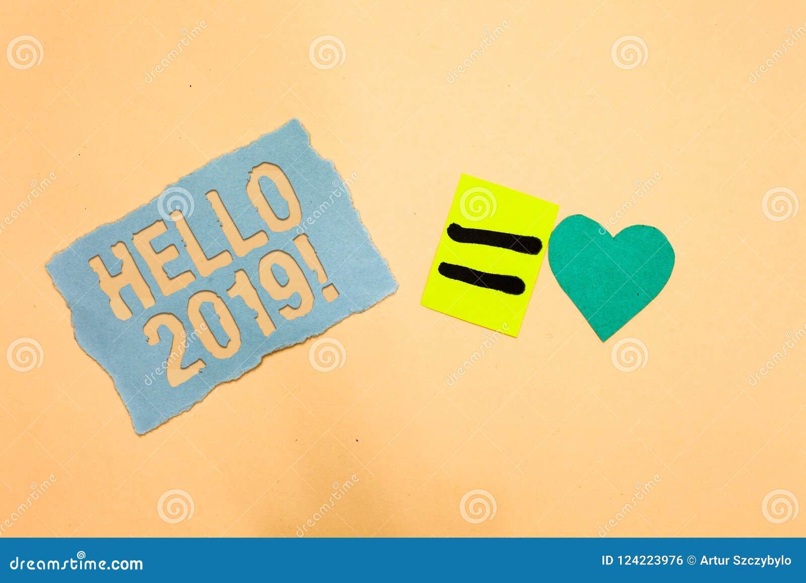 Note d écriture montrant le bonjour 2019 Expression de photo d affaires ou geste de présentation de la salutation répondant au pa