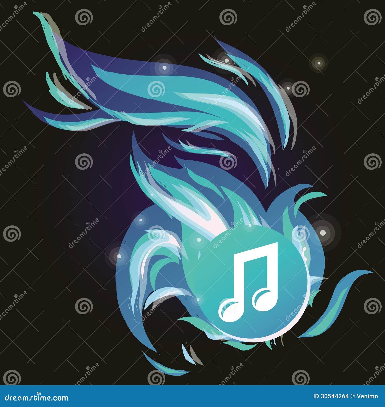Note de musique de vecteur avec la flamme bleue froide
