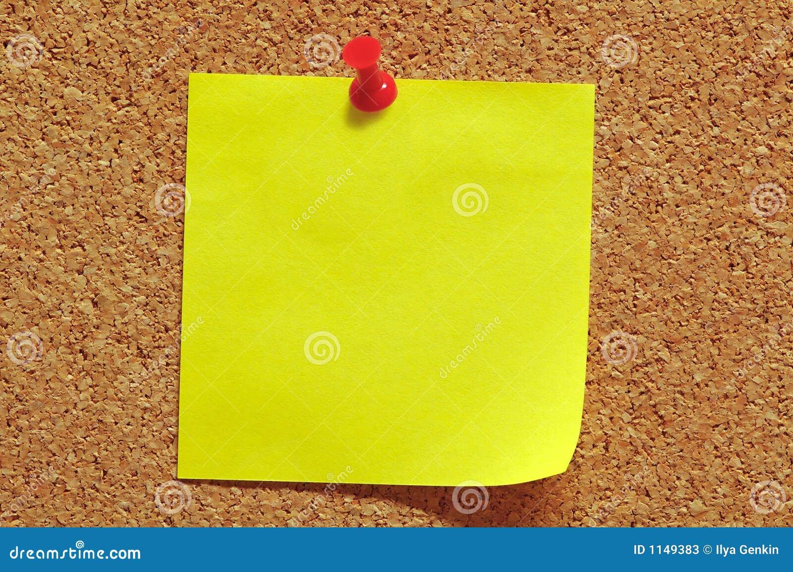 Note de post-it et Pin de poussée