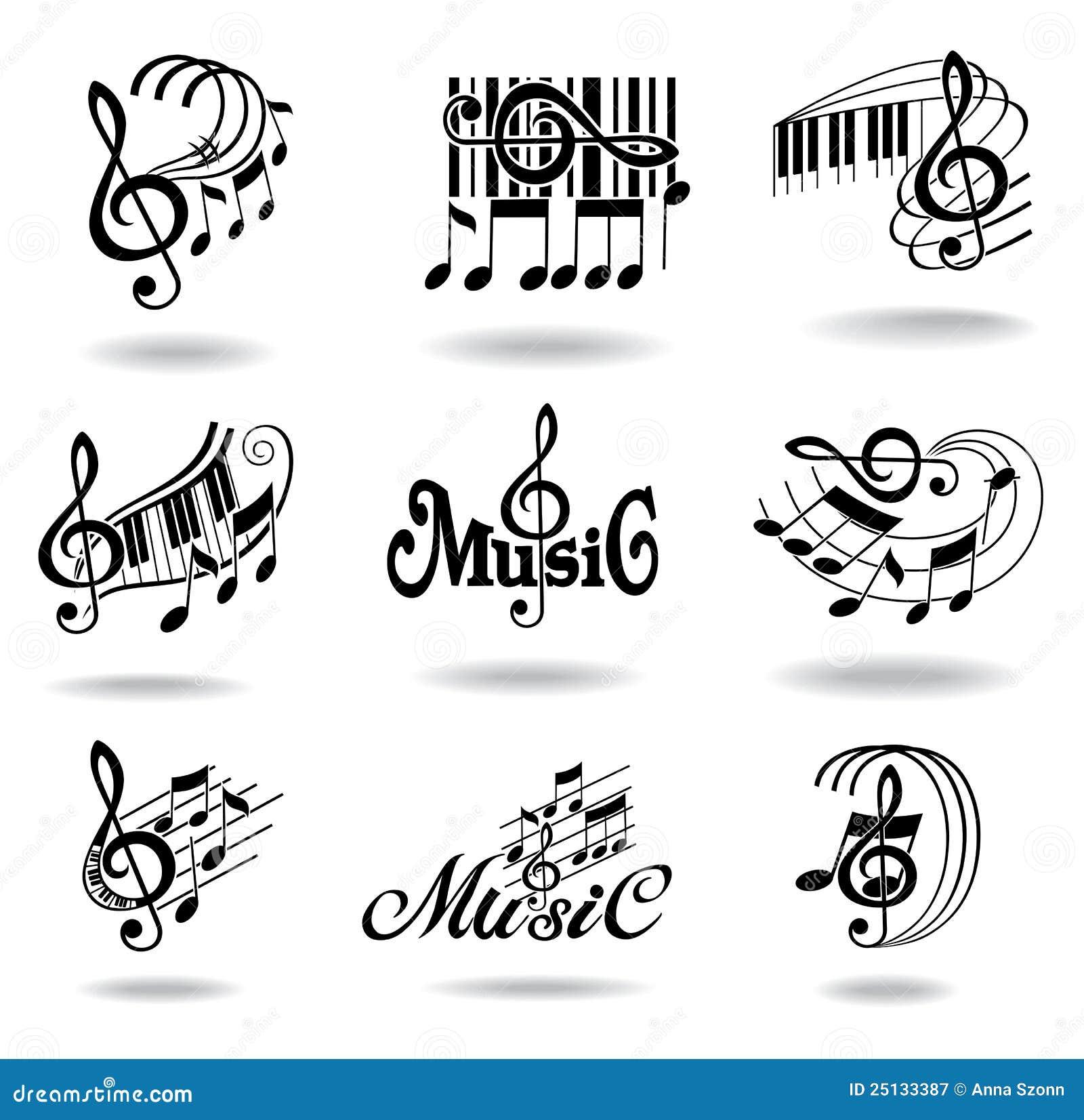 Note Di Musica Insieme Degli Elementi O Delle Icone Di Disegno Di Musica Illustrazione